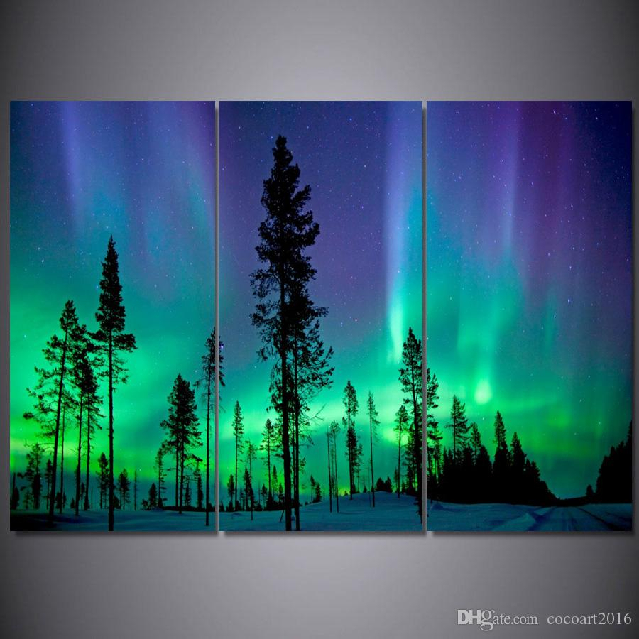 3 Panel Lights Tree Forest Canvas Painting Home Decoration Wall Modular  Picture For Living Room Decoration Framed Art F/3071 inside Aurora Sun Wall Decor (Image 1 of 30)