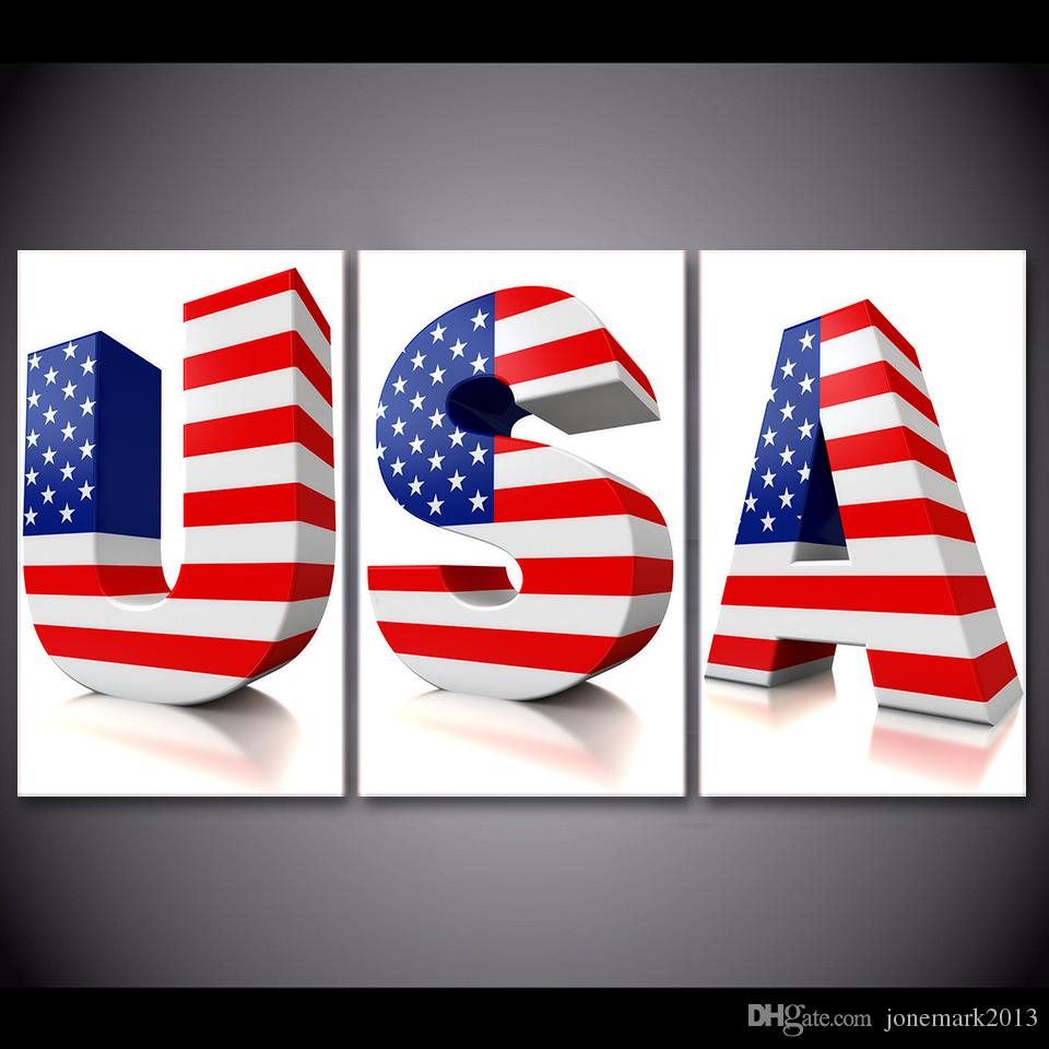 3 Pcs/set Framed Hd Printed Usa 3D Letter Us Flag Poster Picture Wall Art  Print Canvas Painting Cuadros Decoracion Pertaining To American Flag 3D Wall Decor (Image 2 of 30)