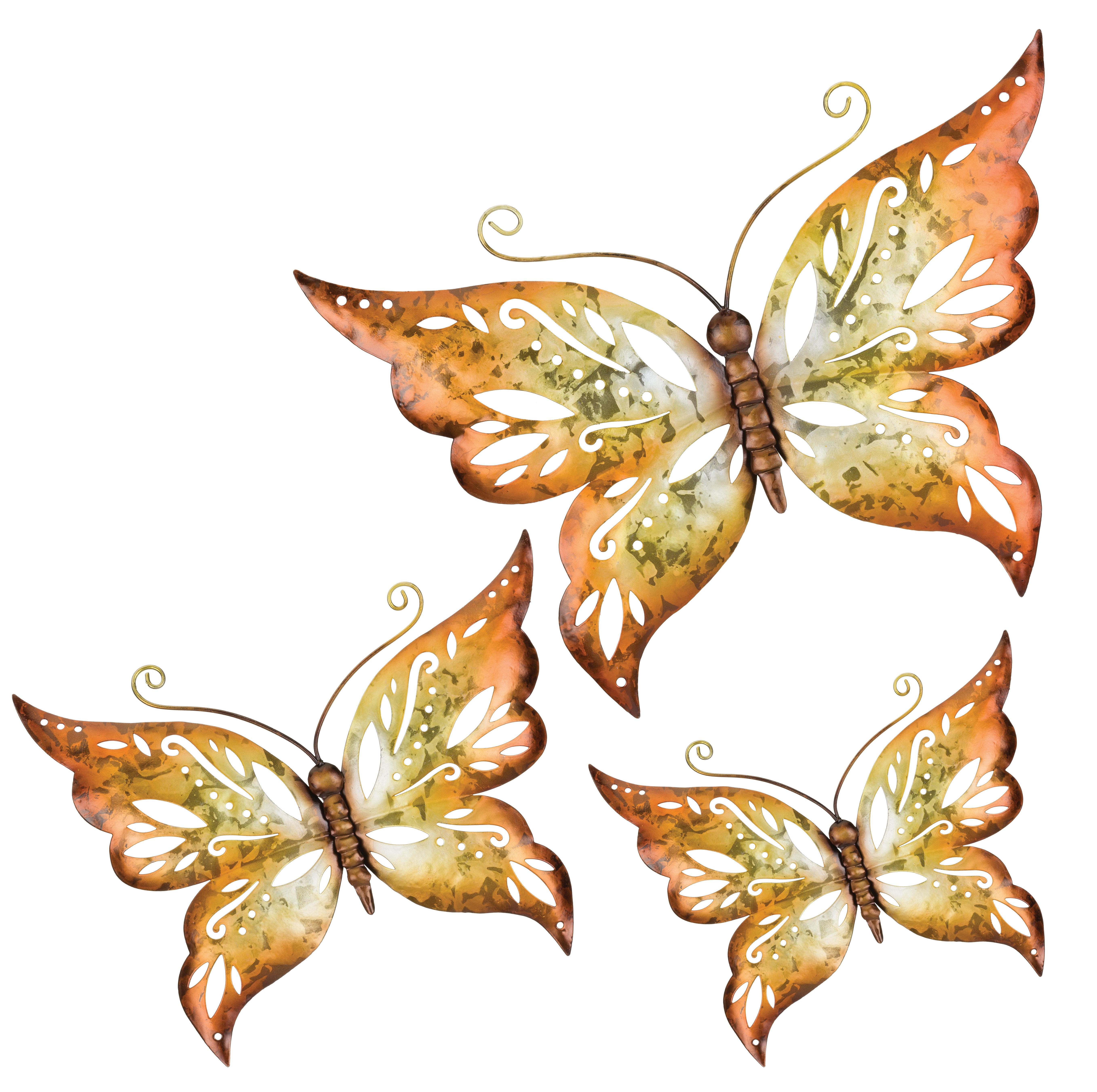 Popular Photo of 3 Piece Capri Butterfly Wall Decor Sets