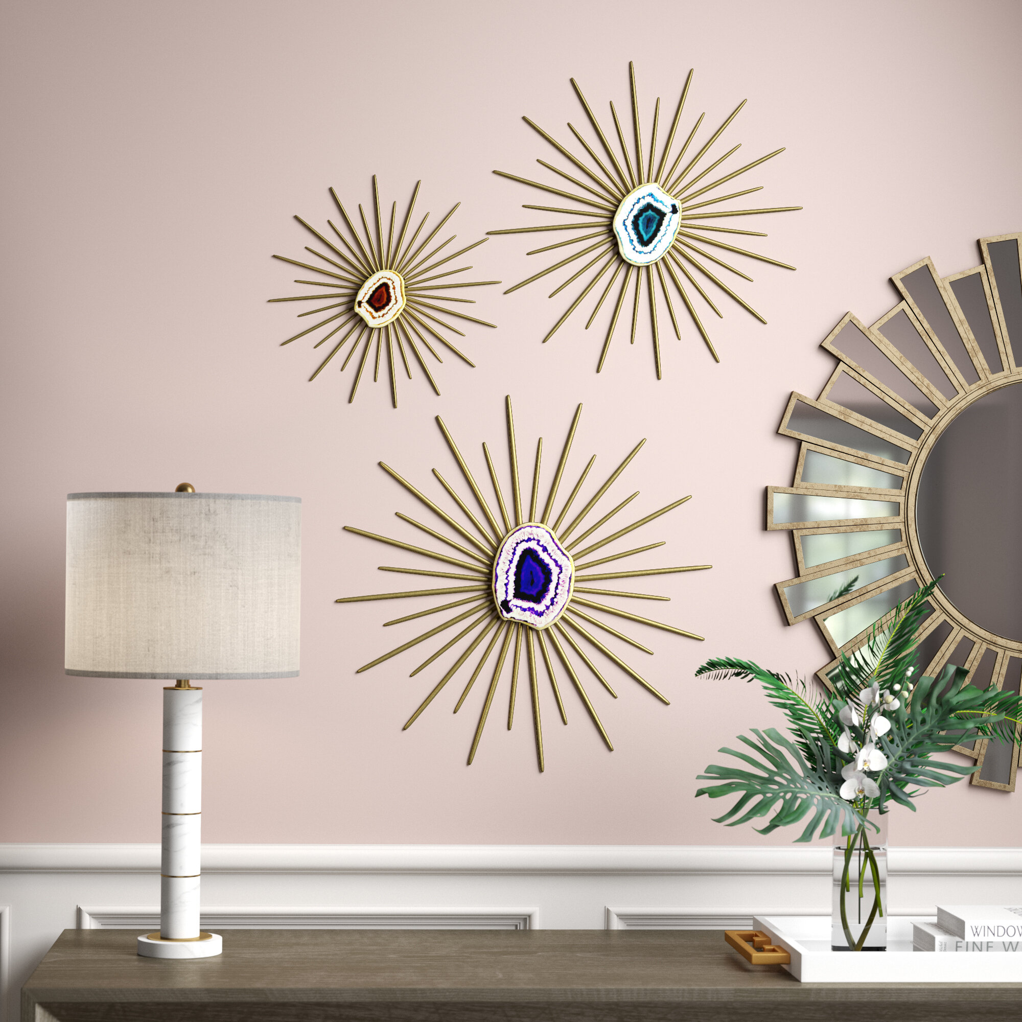 3 Piece Contemporary Metal Spiked Wall Décor Set Inside 3 Piece Acrylic Burst Wall Decor Sets (set Of 3) (View 13 of 30)