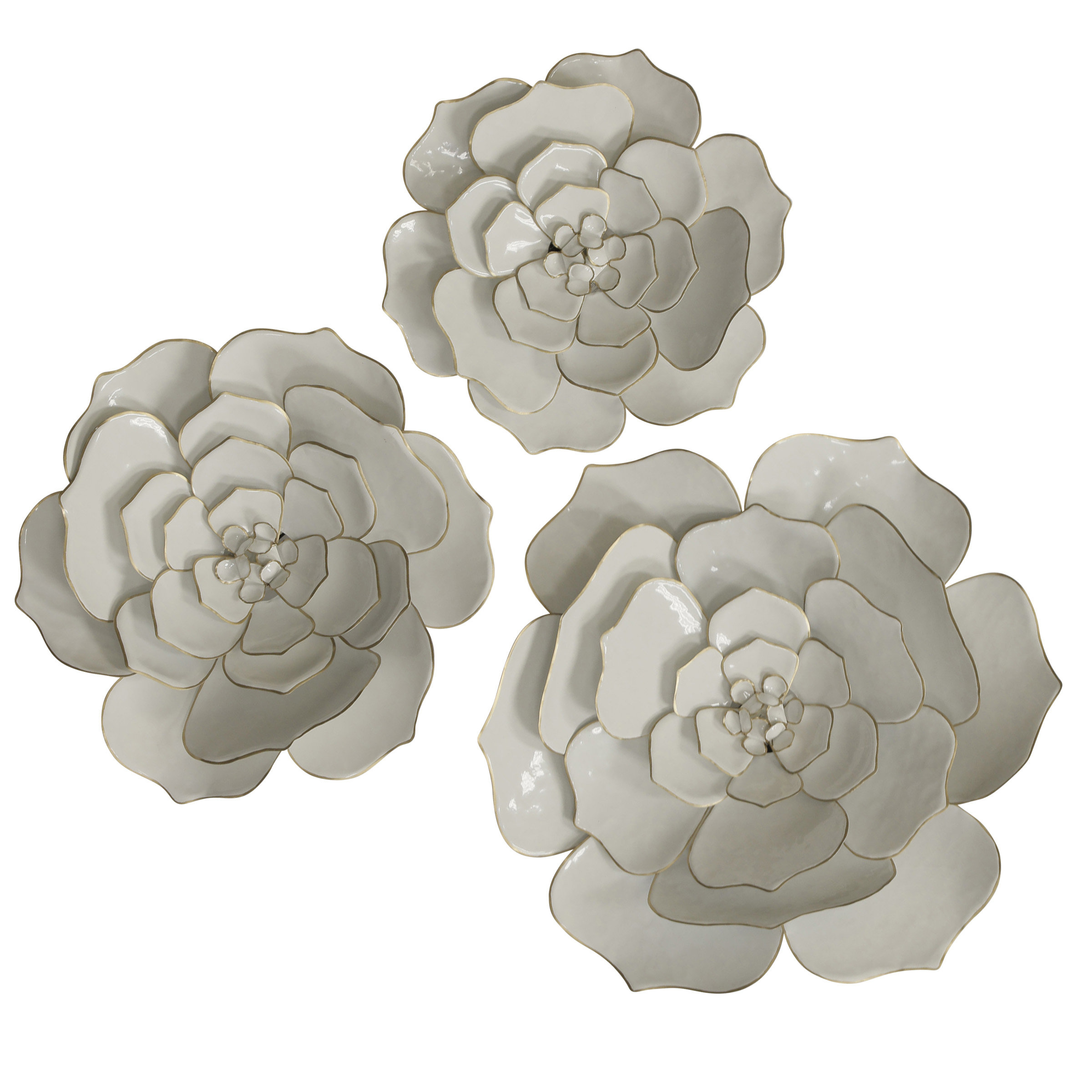 3 Piece Floral Metal Wall Décor Set For Metal Flower Wall Decor (Set Of 3) (View 3 of 30)