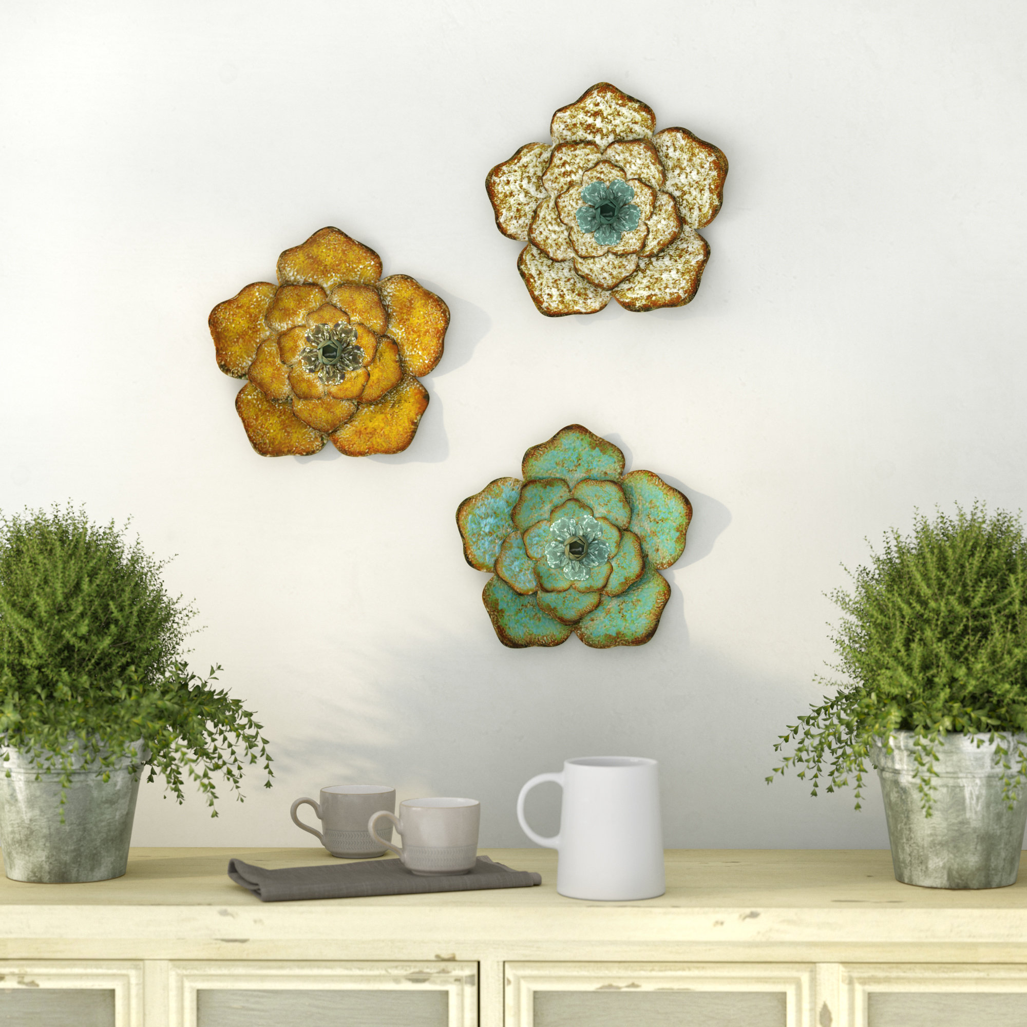 3 Piece Flower Wall Décor Set With Metal Flower Wall Decor (Set Of 3) (View 26 of 30)
