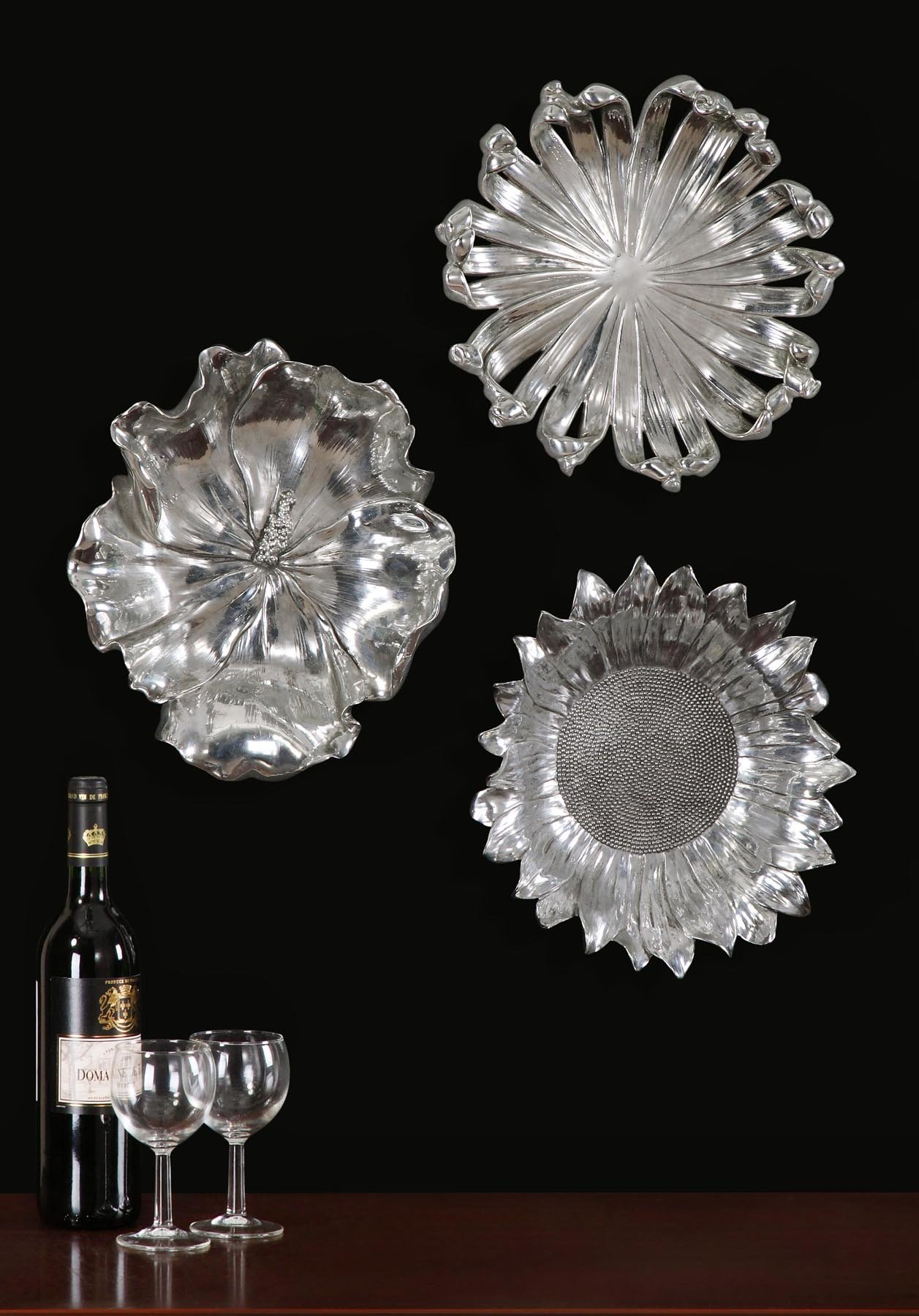 3 Piece Metal Flower Wall Décor Set For Metal Flower Wall Decor (Set Of 3) (View 13 of 30)
