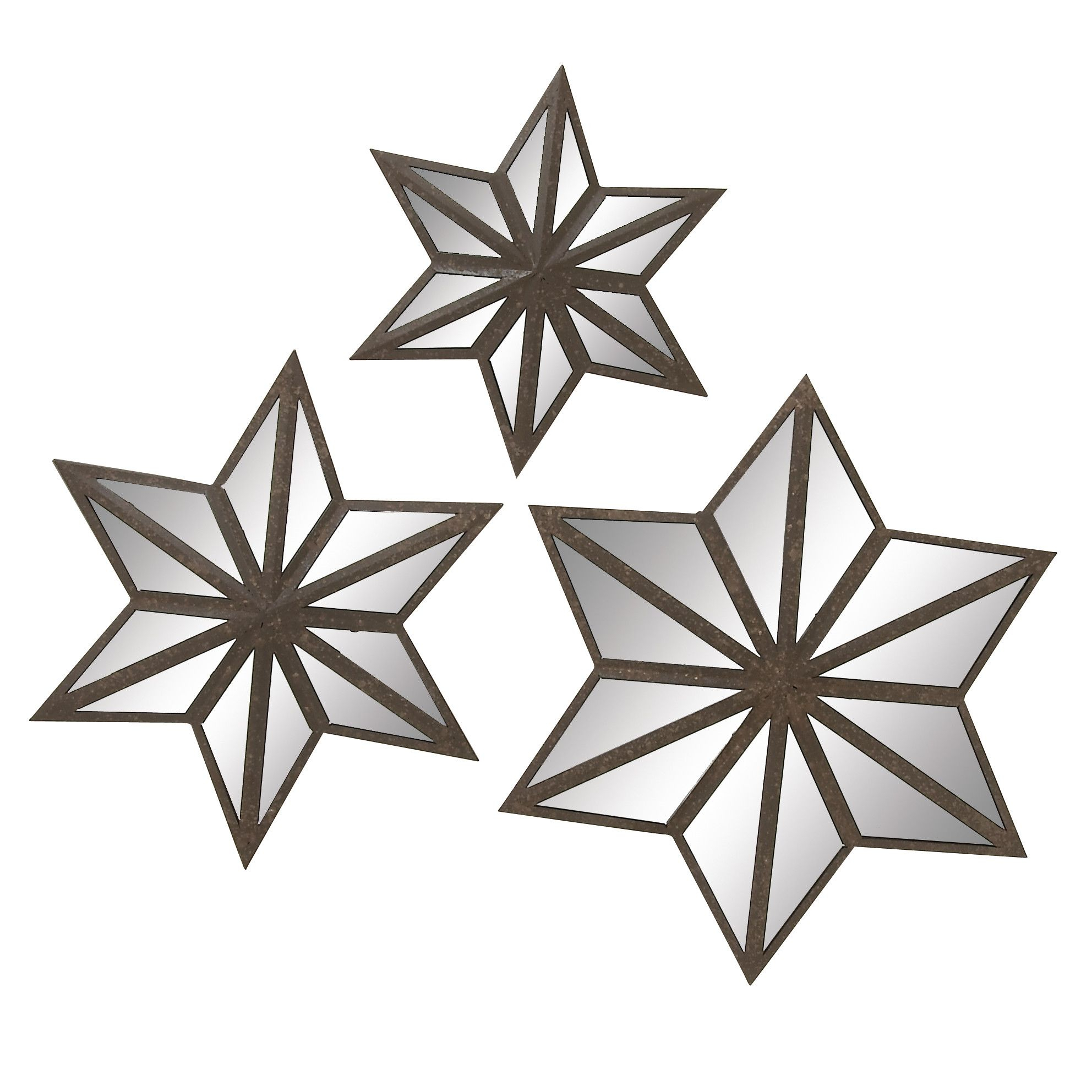 3 Piece Metal Star Mirror Wall Decor Set | Products For 3 Piece Star Wall Decor Sets (View 21 of 30)