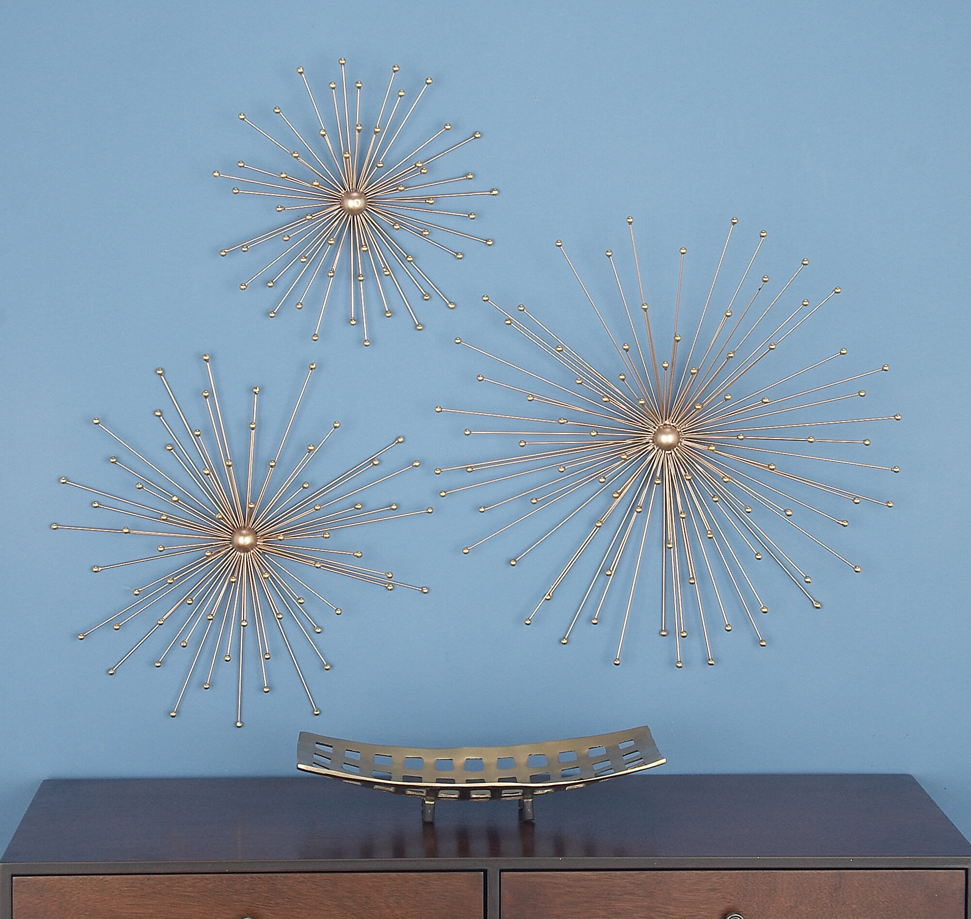 3 Piece Metallic Star Wall Décor Set Pertaining To 3 Piece Star Wall Decor Sets (View 7 of 30)
