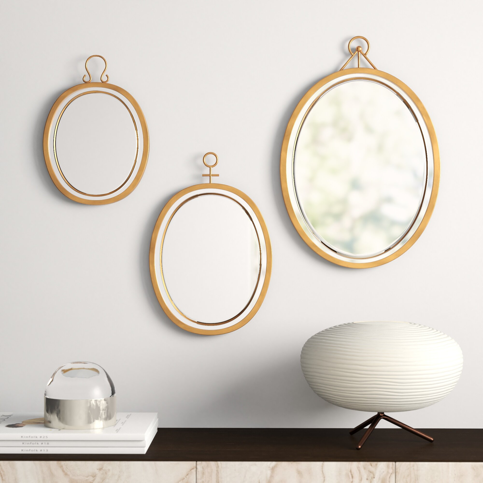 3 Piece Oval Metal Frame Mirror Set Regarding Colton Modern & Contemporary Wall Mirrors (View 2 of 30)
