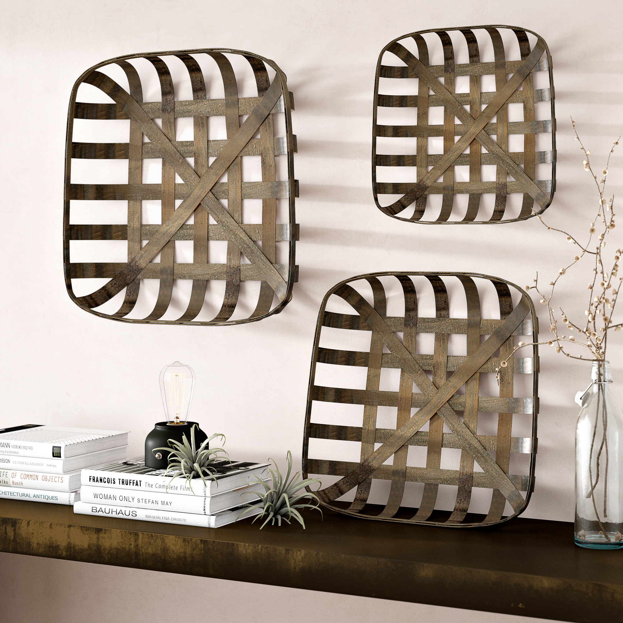 3 Piece Tobacco Wood Wall Décor Set within 4 Piece Handwoven Wheel Wall Decor Sets (Image 2 of 30)