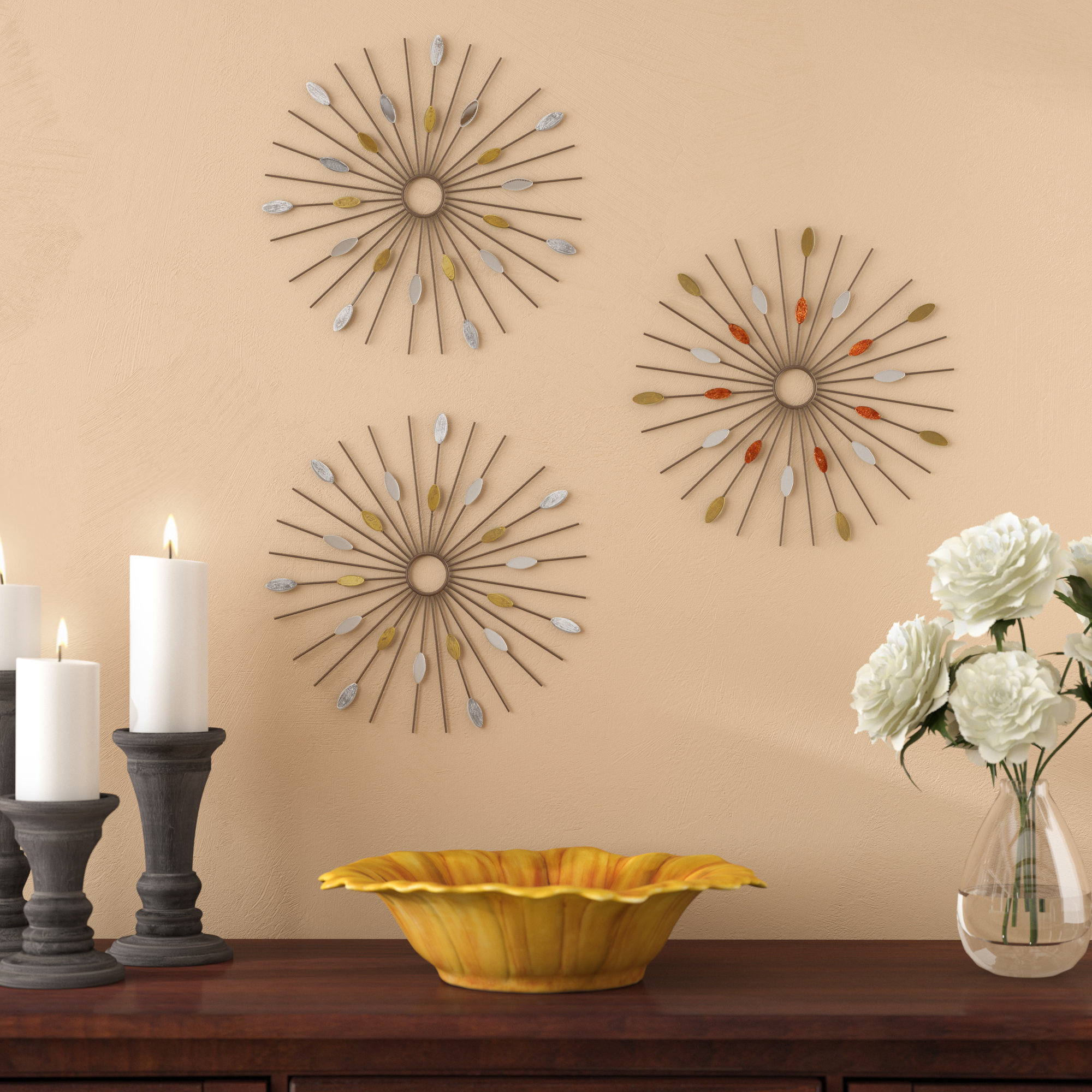 3 Piece Wall Décor Set Throughout 4 Piece Metal Wall Decor Sets (View 9 of 30)