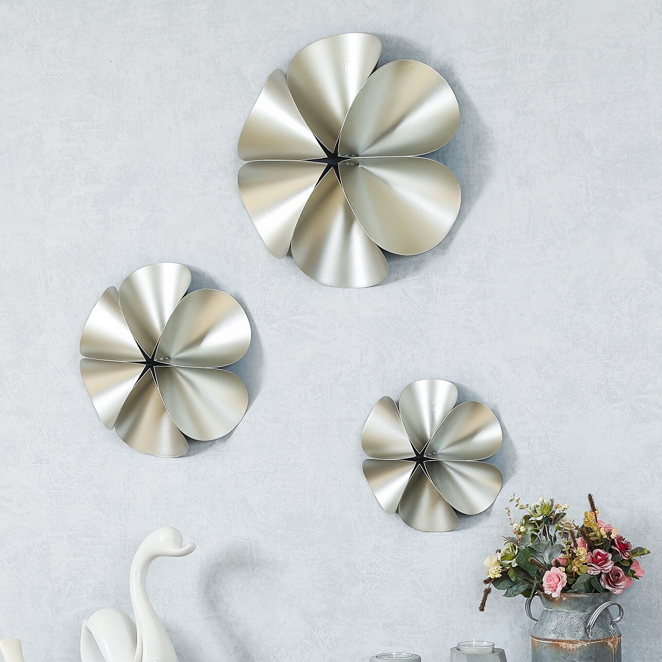 Featured Photo of 3 Piece Ceramic Flowers Wall Decor Sets