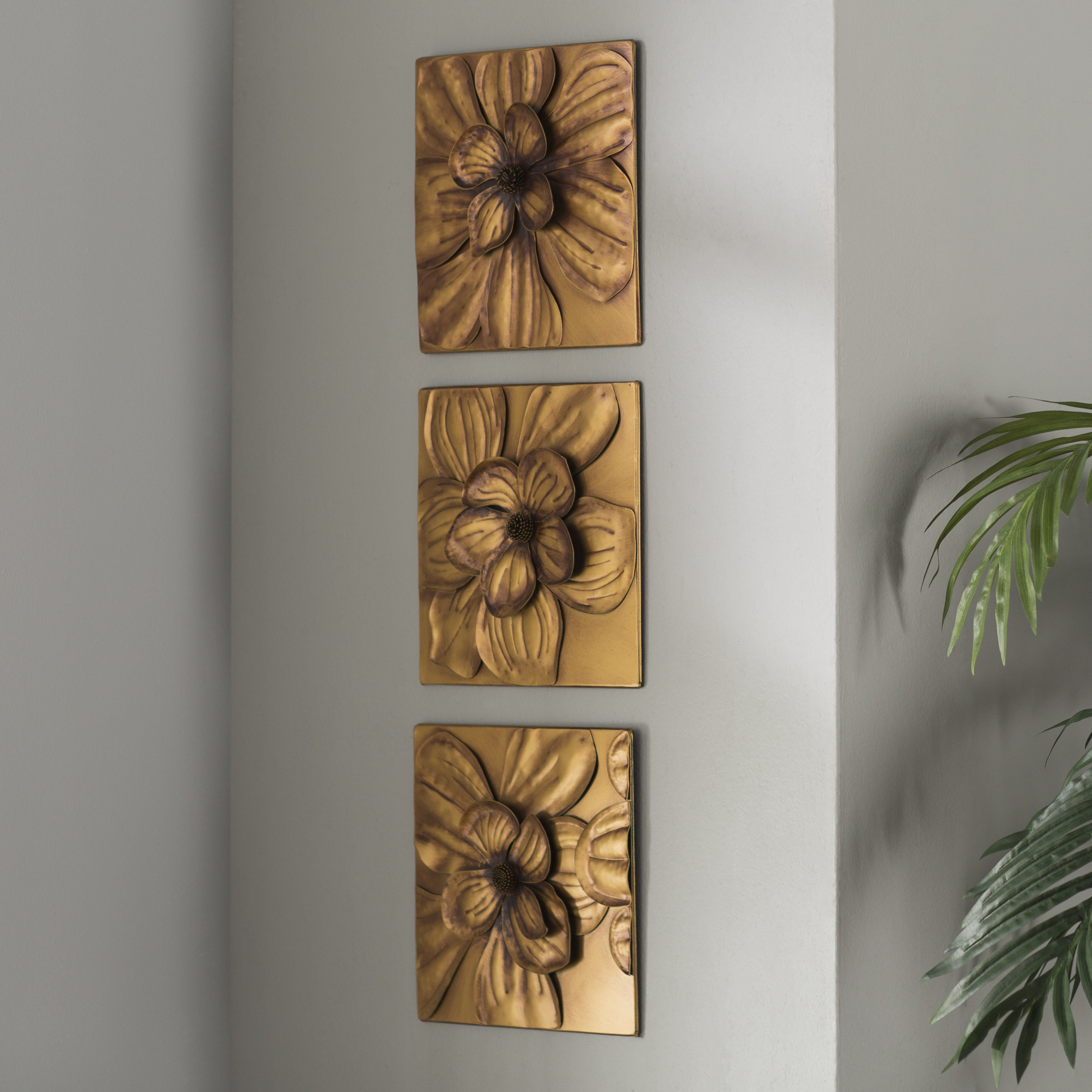 3 Piece Wall Decor Set | Wayfair with 3 Piece Ceramic Flowers Wall Decor Sets (Image 6 of 30)