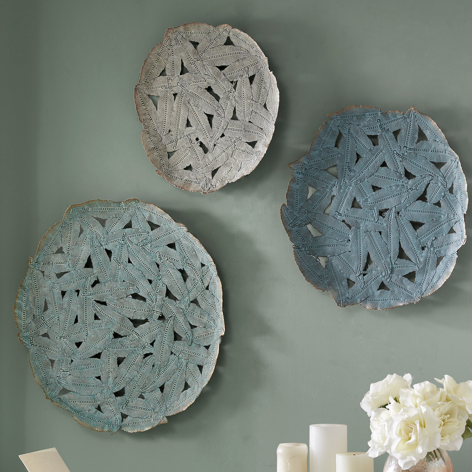 3 Piece Wall Decor Set | Wayfair with regard to 3 Piece Ceramic Flowers Wall Decor Sets (Image 9 of 30)