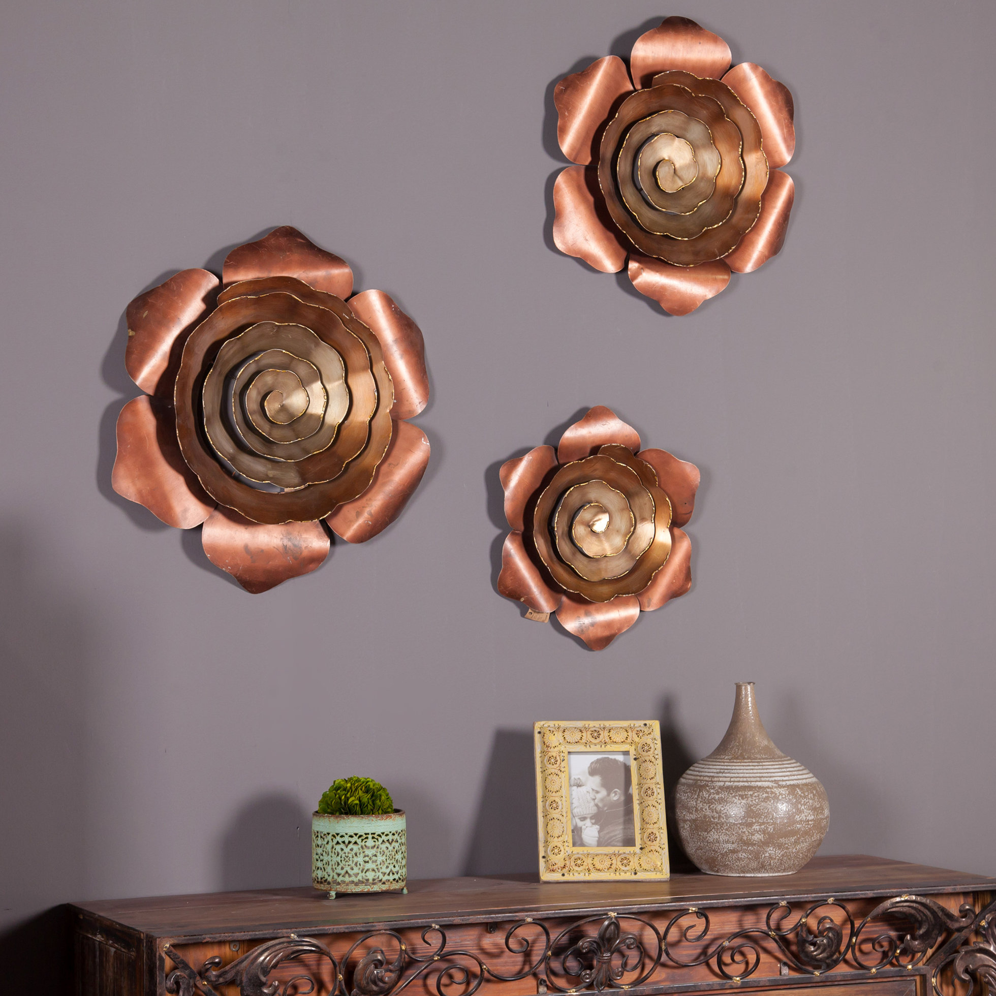 3 Piece Wall Decor Set | Wayfair with regard to 3 Piece Ceramic Flowers Wall Decor Sets (Image 8 of 30)