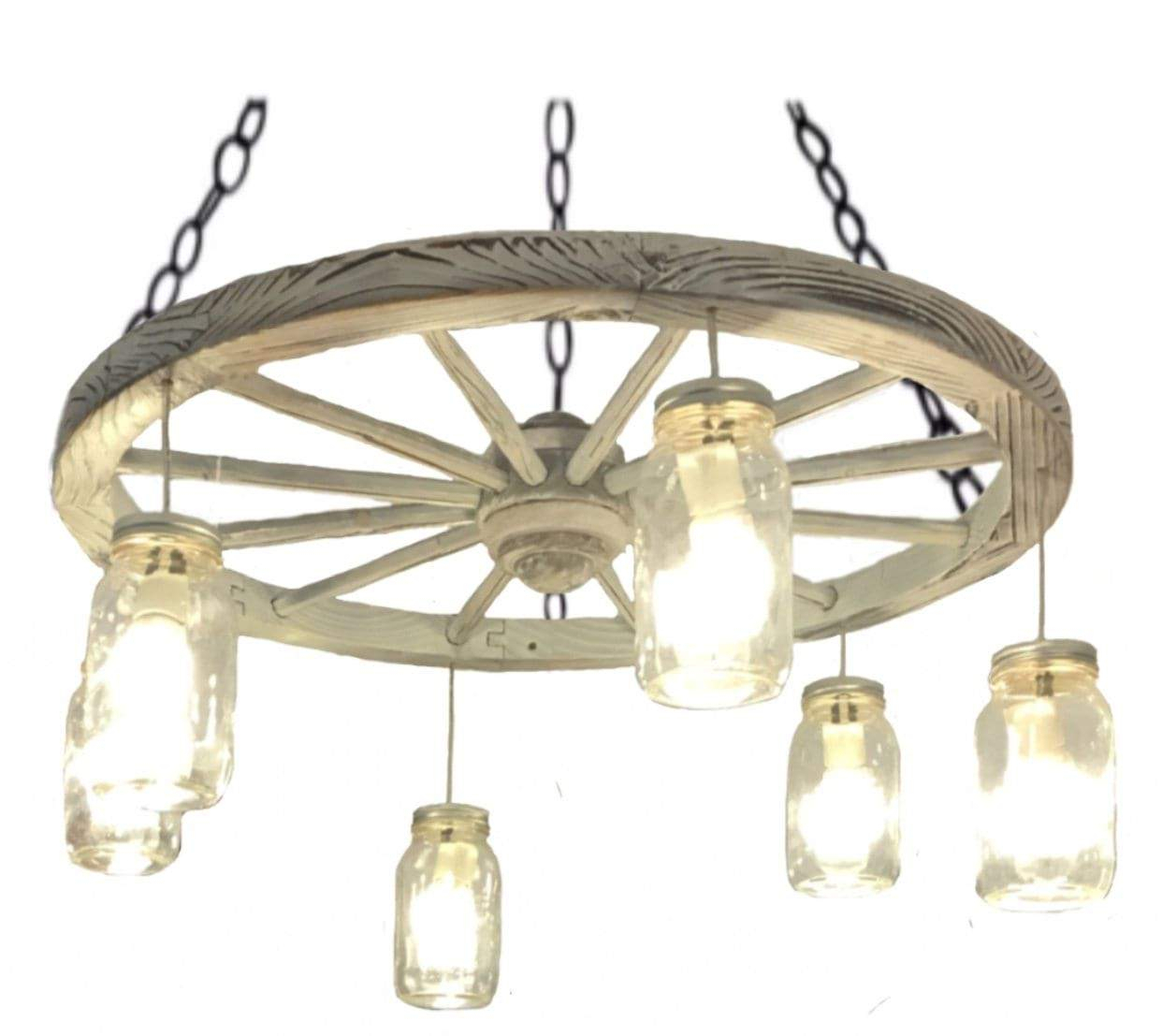 """30"""" Distressed White Wagon Wheel Chandelier 