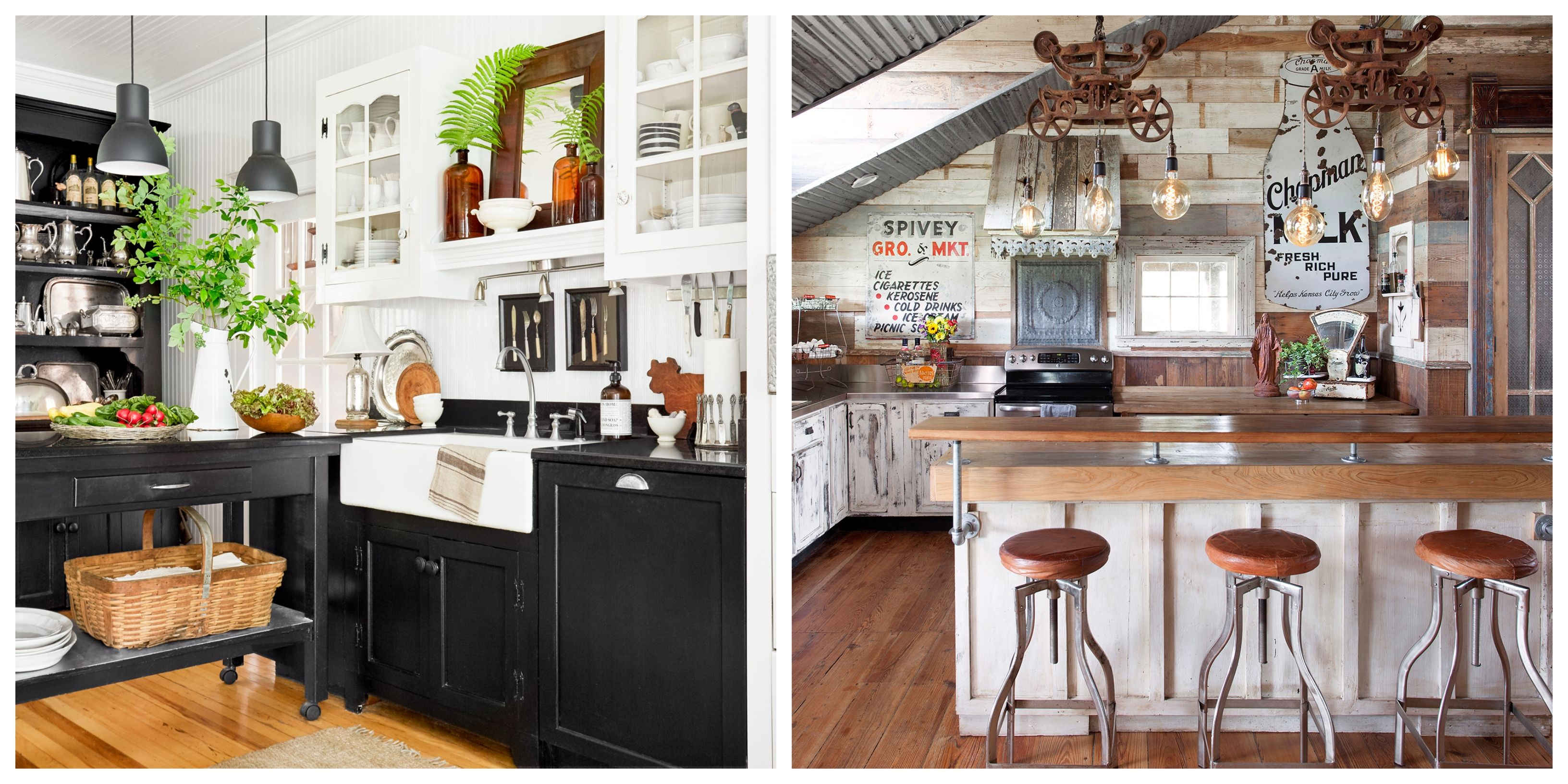 34 Farmhouse Style Kitchens – Rustic Decor Ideas For Kitchens Throughout Personalized Distressed Vintage Look Kitchen Metal Sign Wall Decor (View 24 of 30)