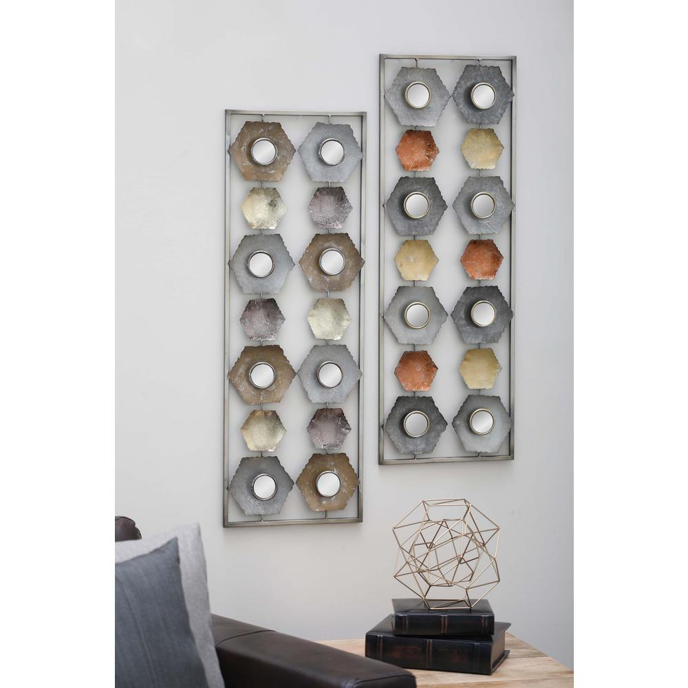 35 In. X 12 In. Iron And Mirror Abstract Wall Panel In Distressed And  Hammered Finish (Set Of 2) for Alie Traditional Beveled Distressed Accent Mirrors (Image 1 of 30)
