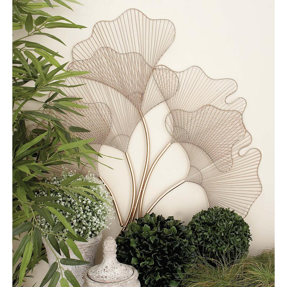 35 In. X 34 In. Modern Gold Iron Wire Fan Leaves Wall Decor inside Set Of 3 Contemporary 6, 9, And 11 Inch Gold Tin Starburst Sculptures (Image 2 of 30)