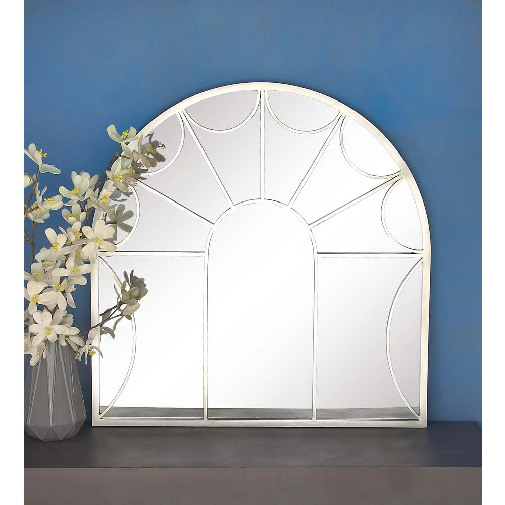 35 In. X 35 In Arched Paneled Silver Wall Mirror pertaining to Arch Vertical Wall Mirrors (Image 1 of 30)