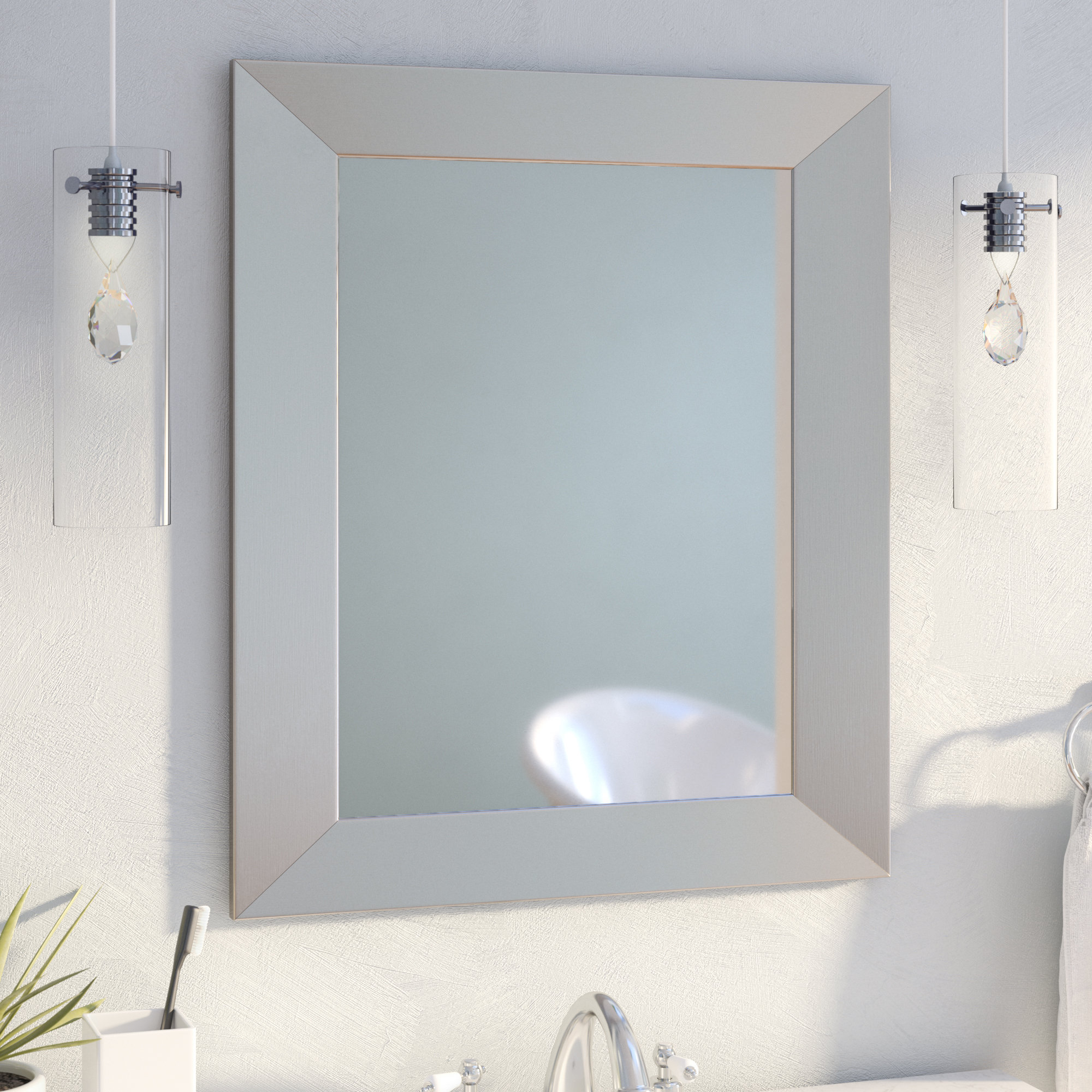 35 Inch Round Mirror | Wayfair Throughout Lidya Frameless Beveled Wall Mirrors (View 22 of 30)