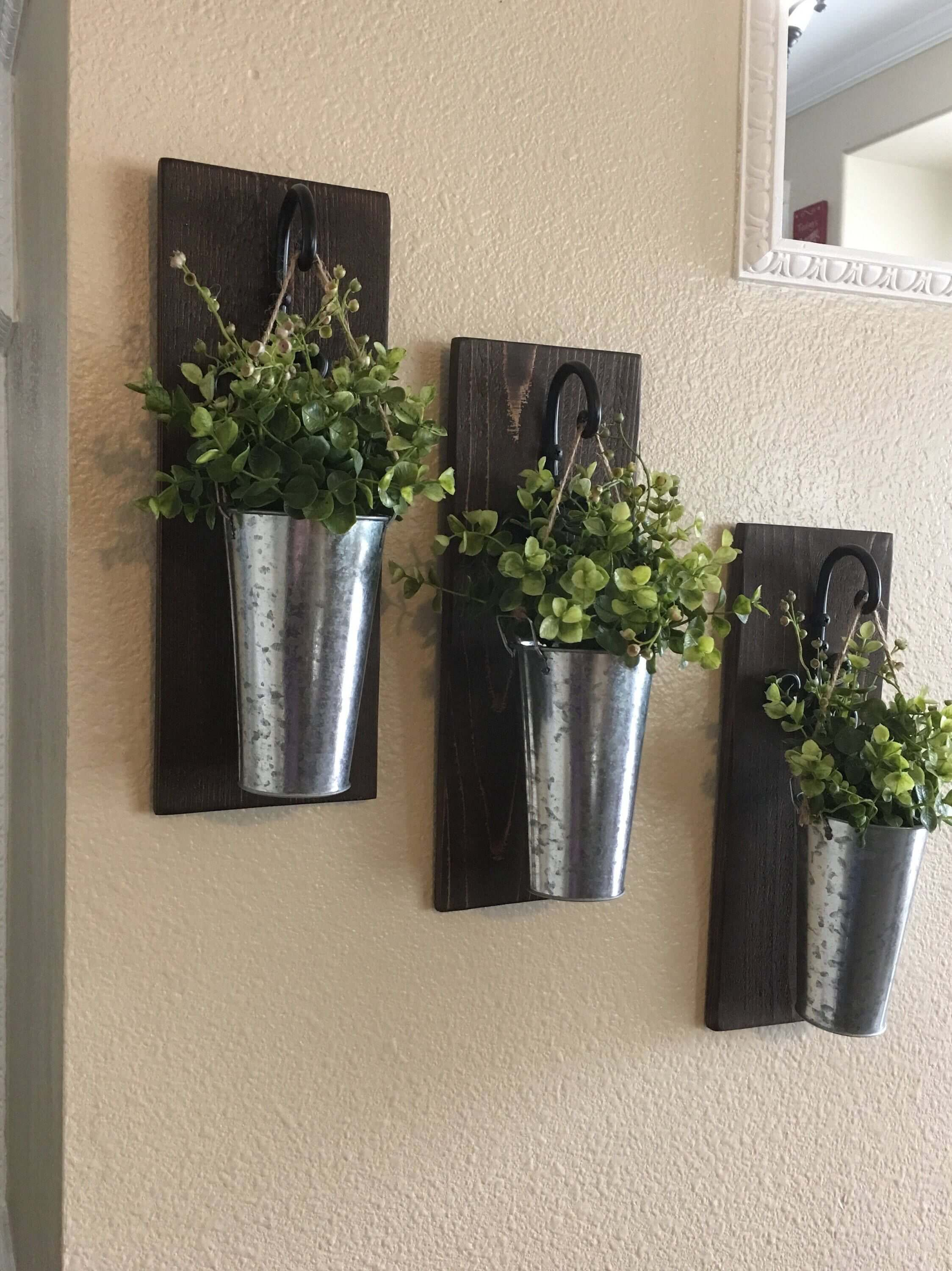 36 Best Farmhouse Plant Decor Ideas And Designs For 2019 Throughout Farm Metal Wall Rack And 3 Tin Pot With Hanger Wall Decor (View 7 of 30)