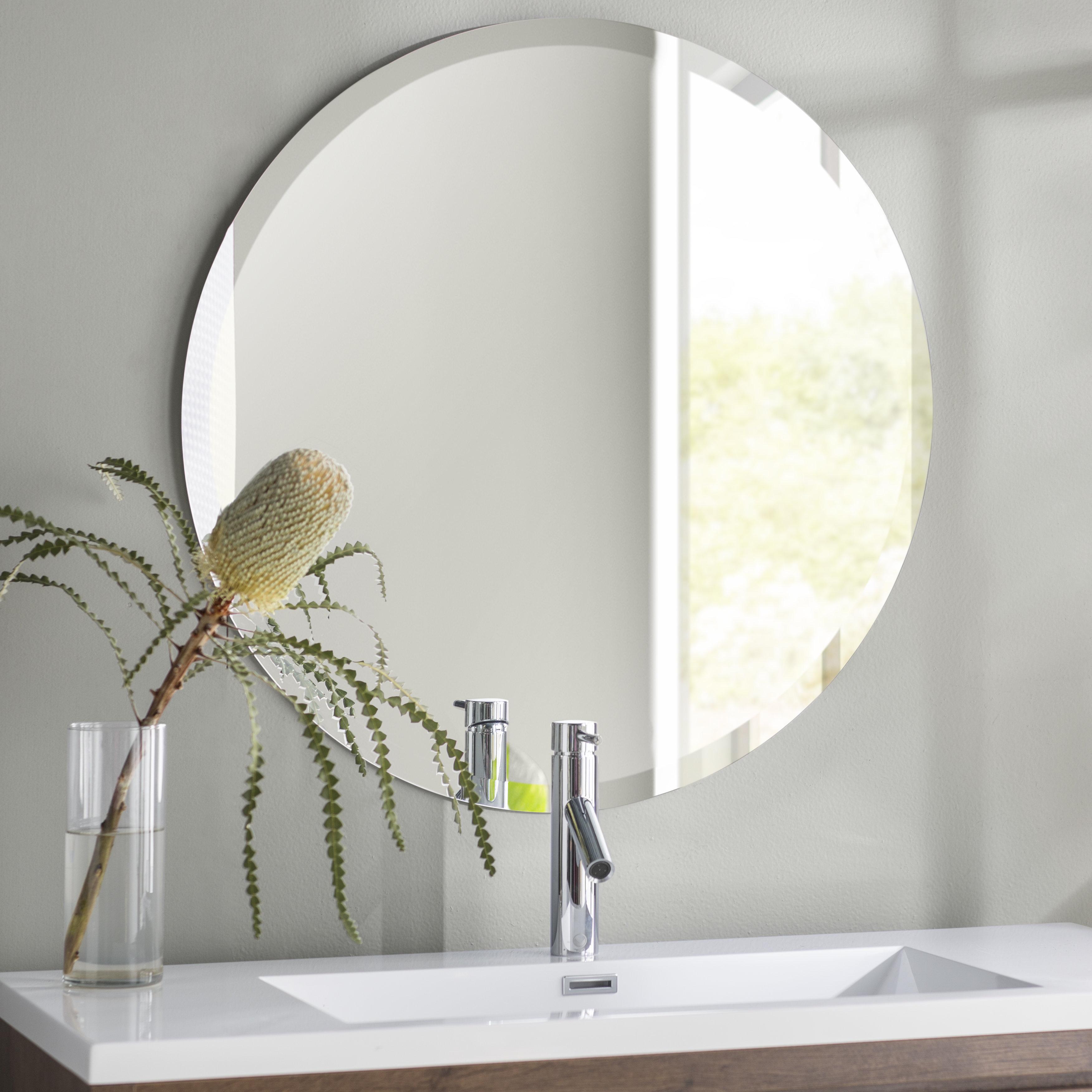 36 In Round Mirror   Wayfair Throughout Point Reyes Molten Round Wall Mirrors (View 1 of 30)