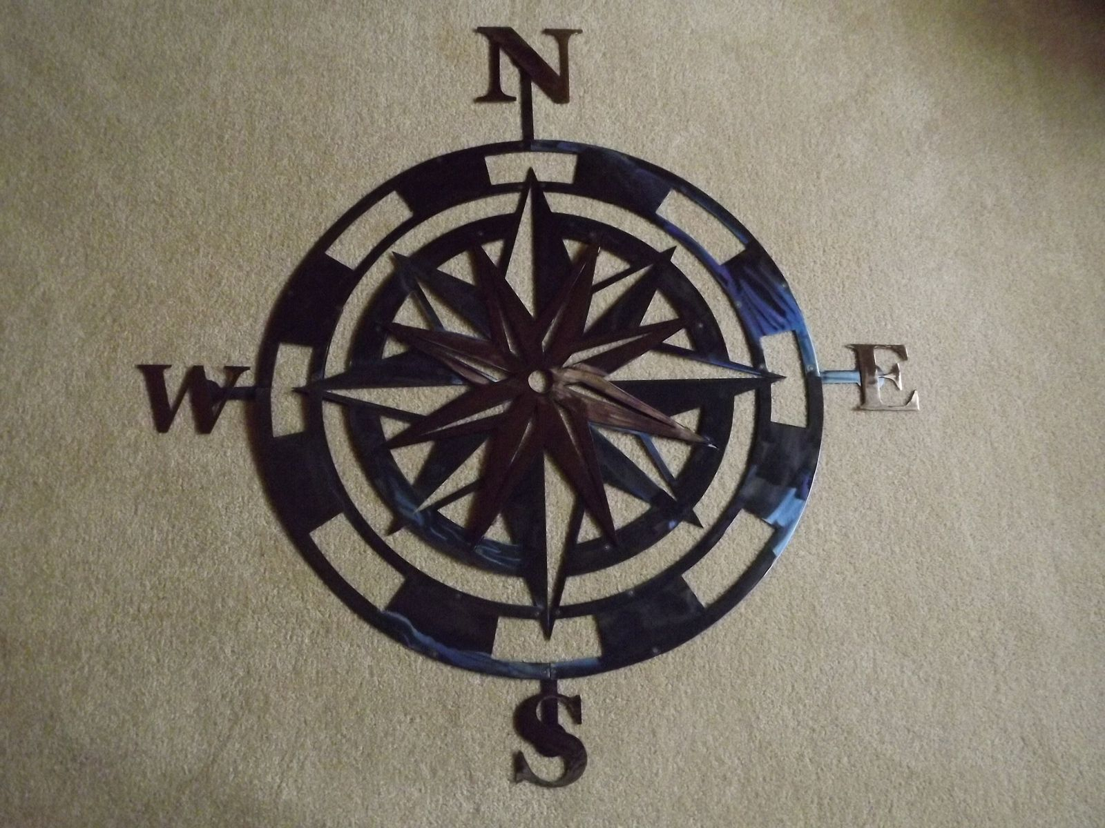 36 Inch Metal Compass Rose Wall Art inside Outdoor Metal Wall Compass (Image 5 of 30)