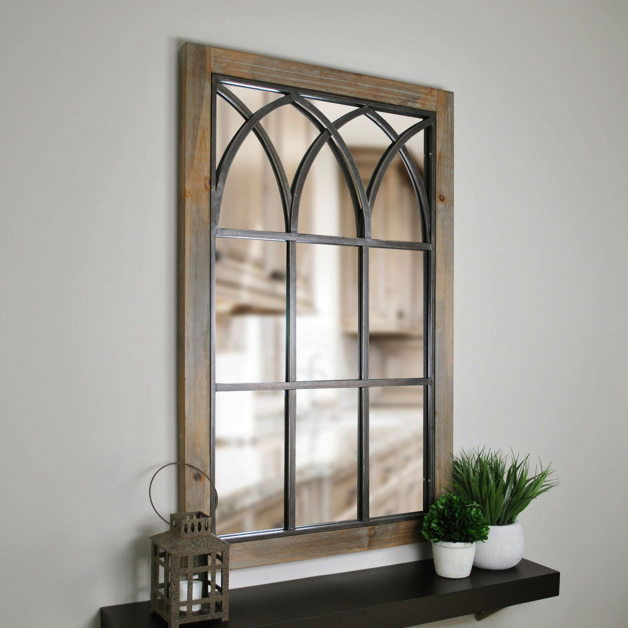 """37.5""""x24"""" Grandview Arched Window Mirror Brown - Firstime In within Polito Cottage/country Wall Mirrors (Image 1 of 30)"""