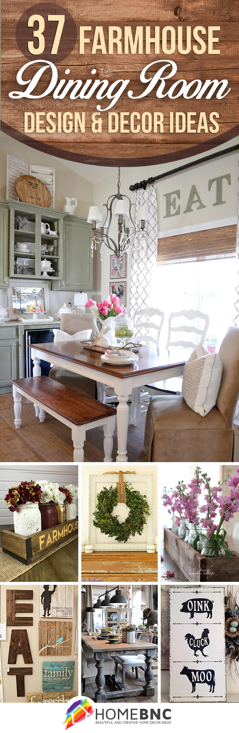 37 Best Farmhouse Dining Room Design And Decor Ideas For 2019 Throughout Casual Country Eat Here Retro Wall Decor (View 8 of 30)