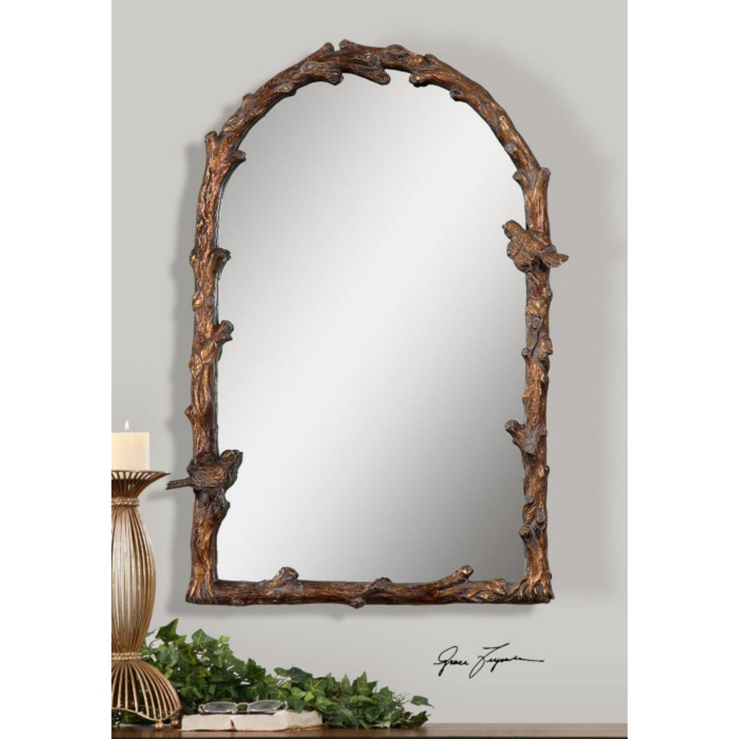 "37""h Brown/golden Branch And Bird Detailed Hanging Arched Top Wall Mirror -  Gold - N/a with Arch Vertical Wall Mirrors (Image 2 of 30)"