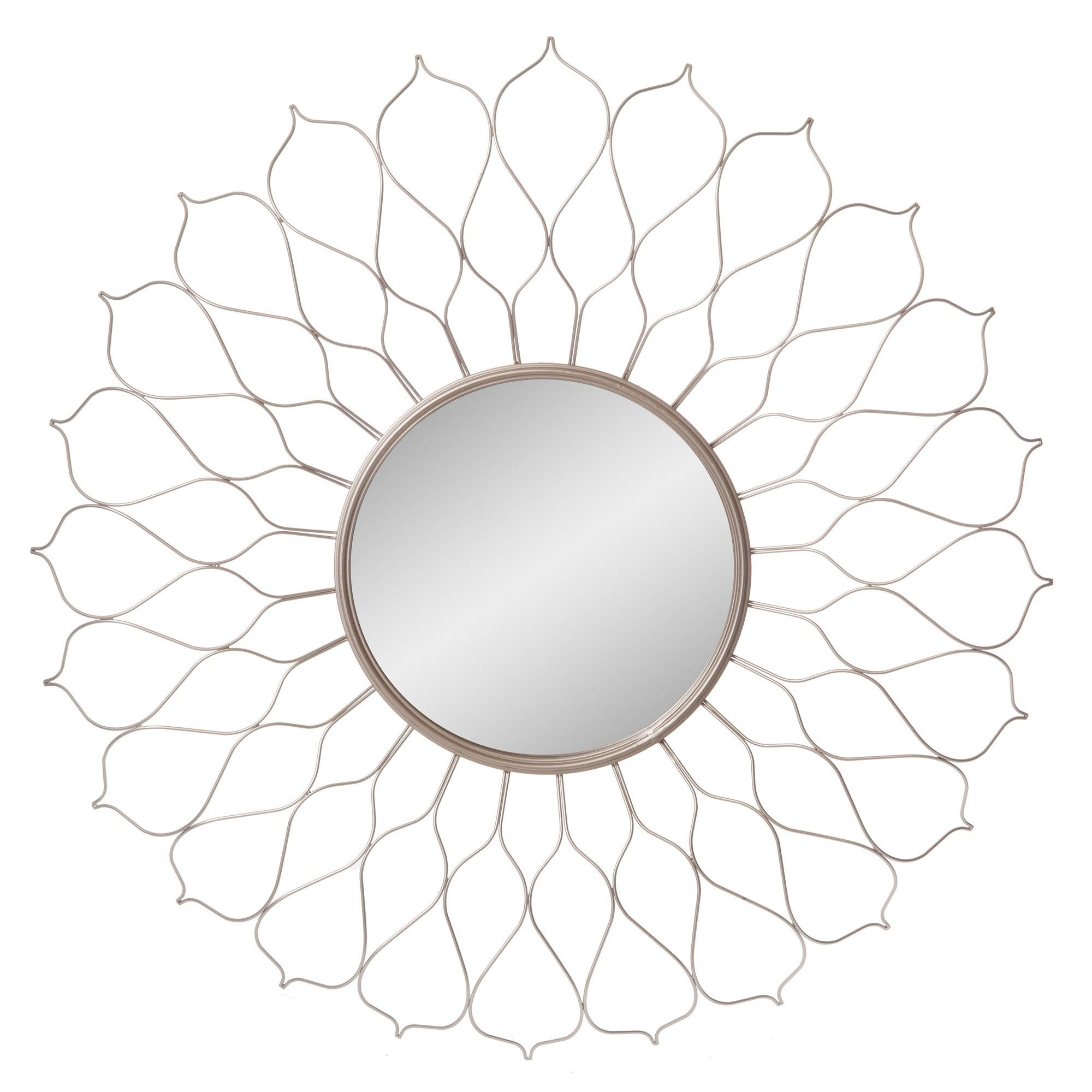 """38"""" Flower Petal Sunburst Wall Accent Mirror Silver - Patton within Starburst Wall Decor by Willa Arlo Interiors (Image 2 of 30)"""