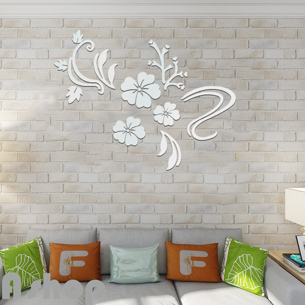 3d Acrylic Three Dimensional Wall Stickers Romantic Flower Vine Mirrow Wall Stickers Home Decor Decorate Bedroom Wall Sticker With Three Flowers On Vine Wall Decor (View 19 of 30)
