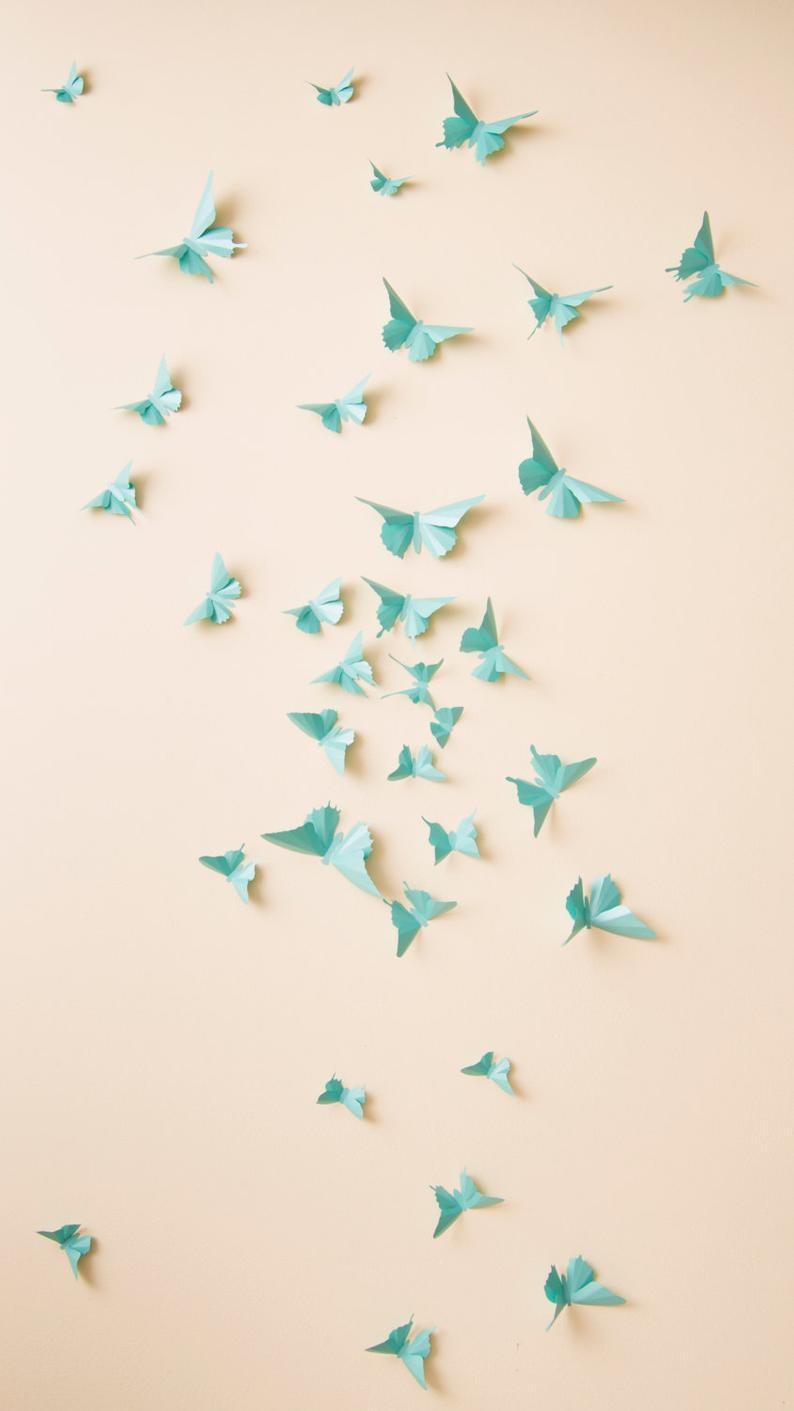 3D Butterfly Wall Decor: 3D Wall Butterflies, Nursery Decor, Girls Room, Butterfly Wall Art In Aqua Metallic Throughout 3 Piece Capri Butterfly Wall Decor Sets (View 17 of 30)