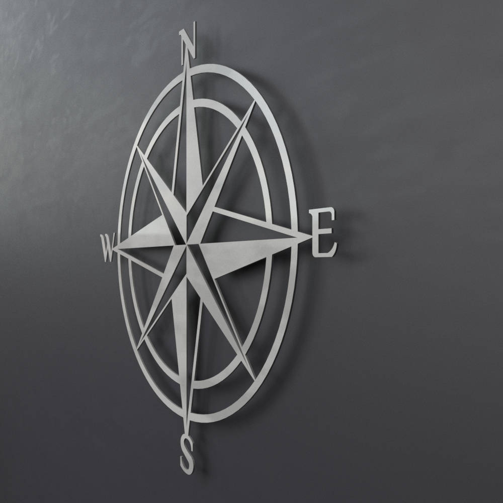 3D Compass Metal Wall Art, Nautical Rose Compass, Large intended for Outdoor Metal Wall Compass (Image 6 of 30)