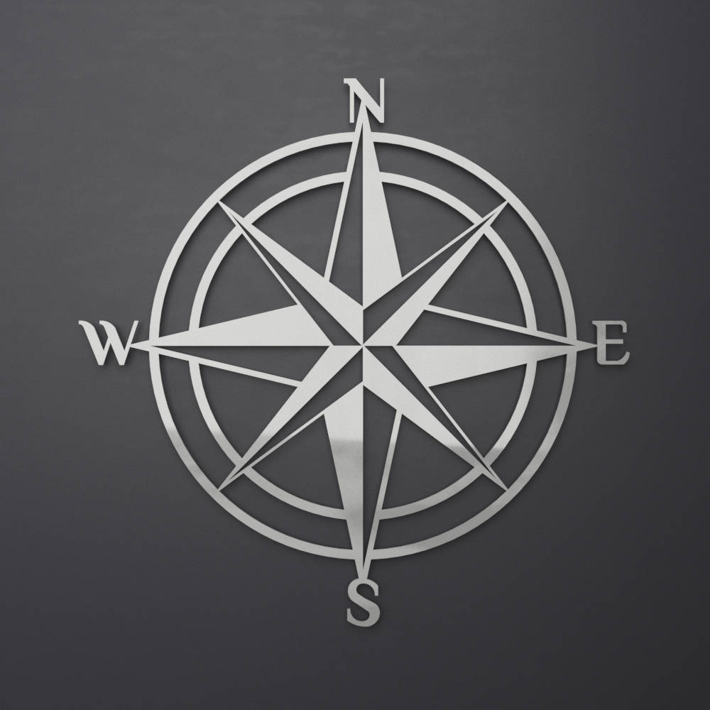 3D Compass Metal Wall Art, Nautical Rose Compass, Large regarding Outdoor Metal Wall Compass (Image 7 of 30)