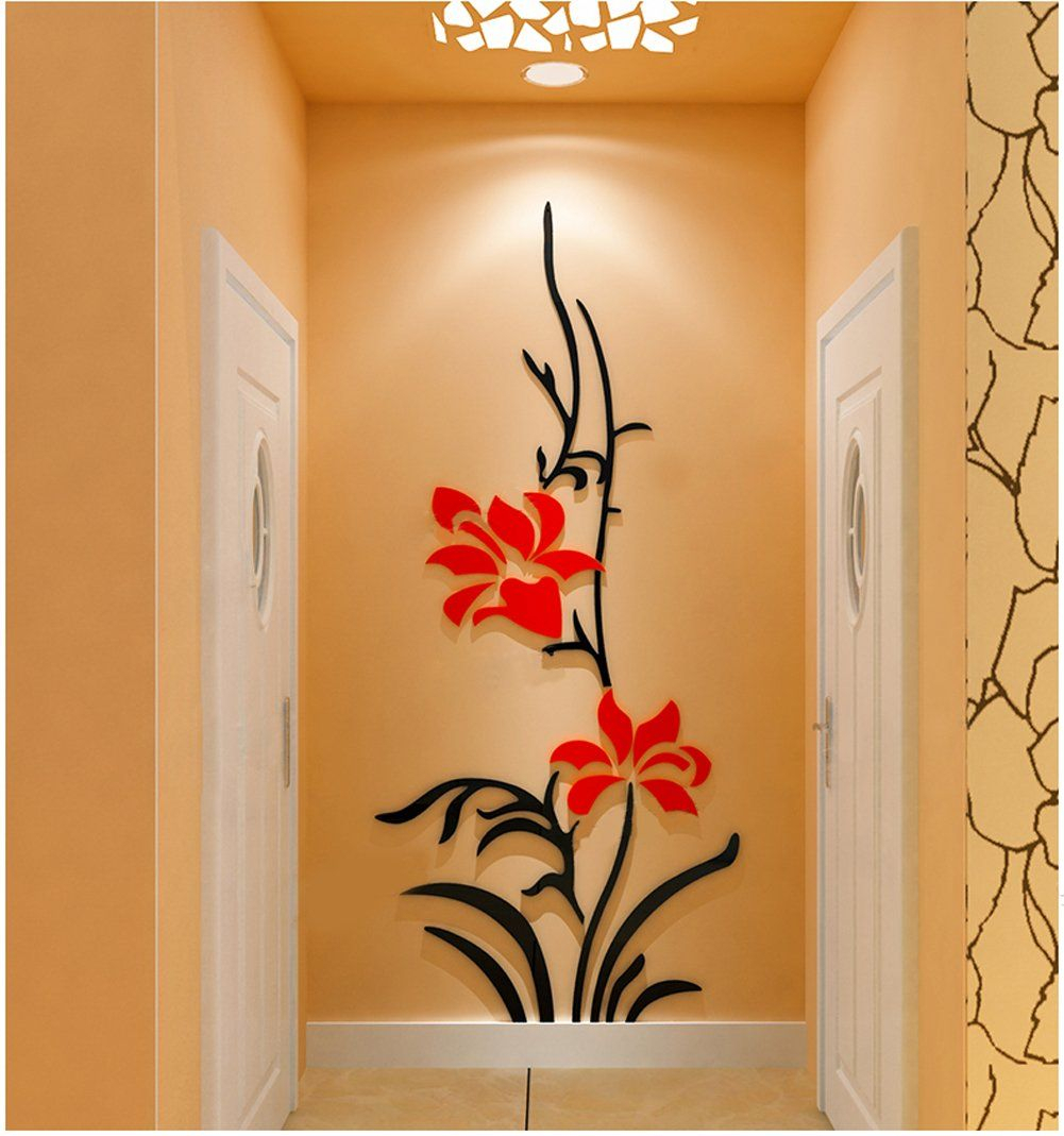 3d Creative Flower Wall Murals For Living Room Bedroom Sofa Intended For Three Flowers On Vine Wall Decor (View 18 of 30)