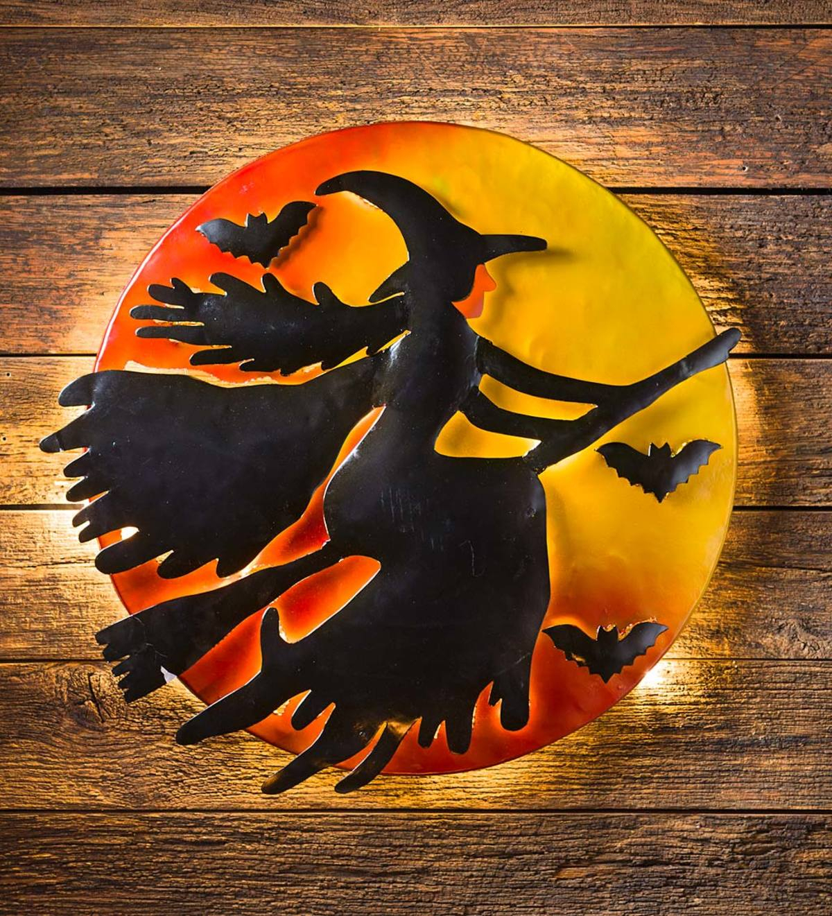 3d Lighted Flying Witch Recycled Oil Drum Lid Wall Art Inside Recycled Moon And Sun Wall Decor (View 18 of 30)