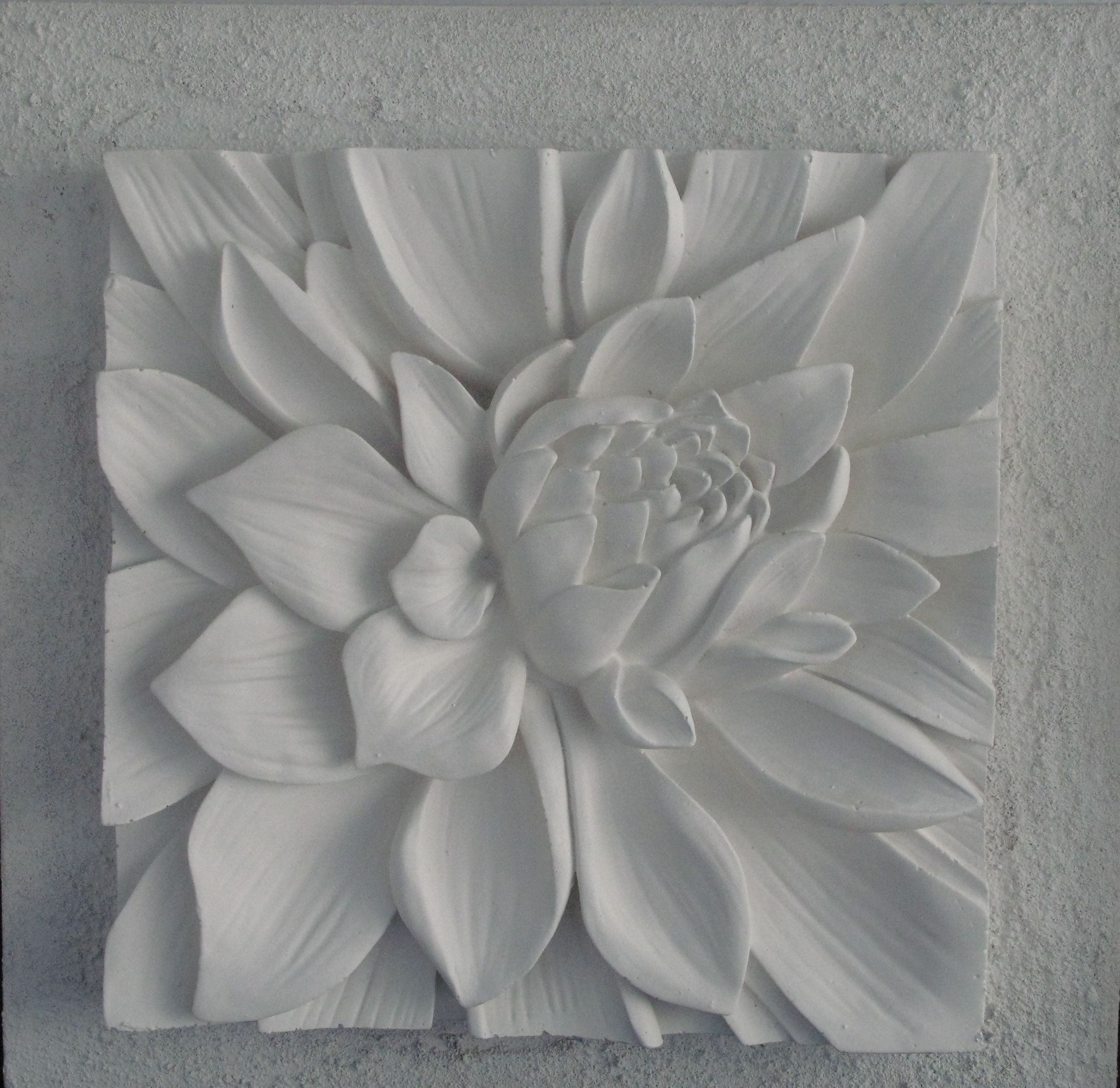 3D Sculptural Art With Textured Background. Lotus Flower with 3 Piece Ceramic Flowers Wall Decor Sets (Image 11 of 30)
