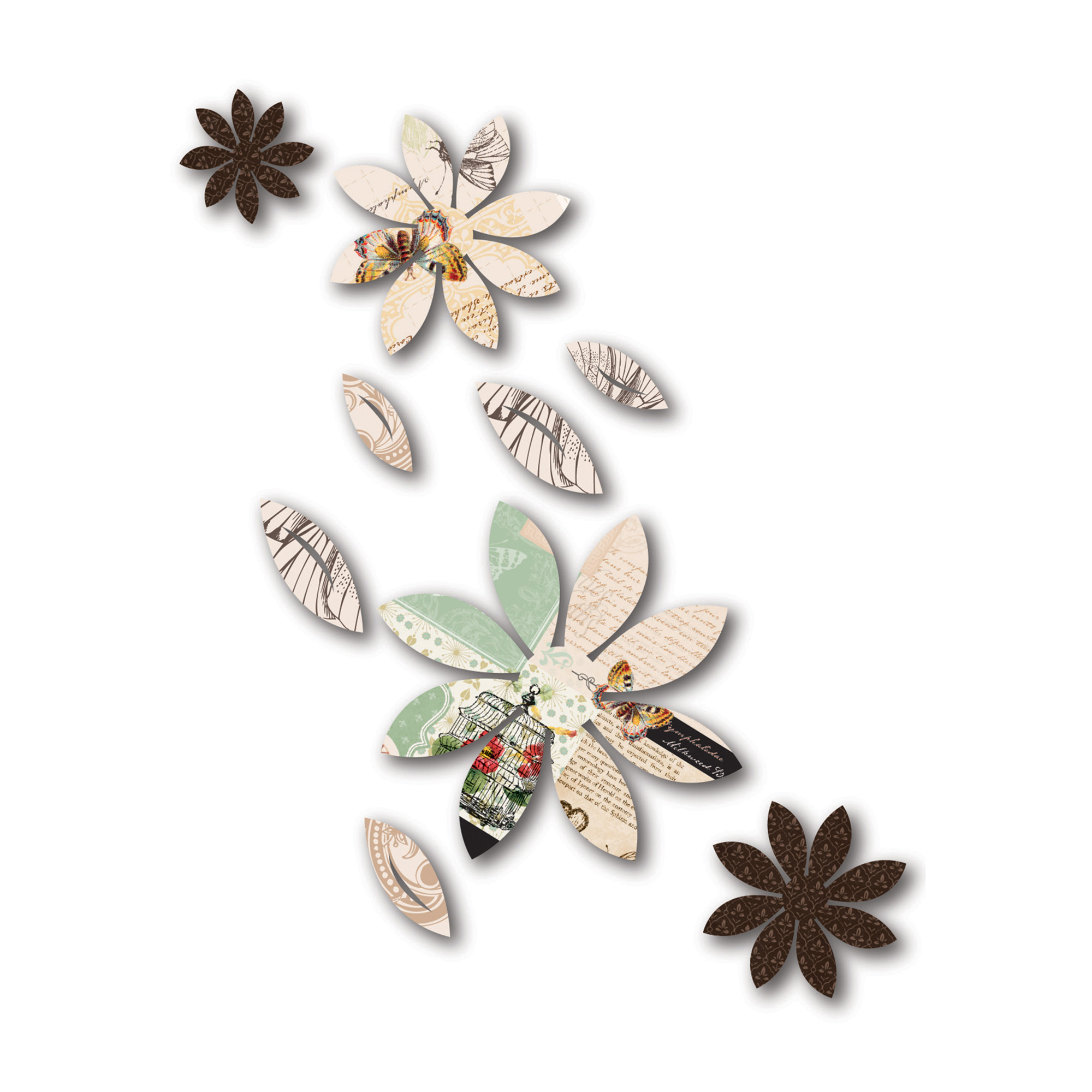 3D Wall Decor Brown Flowers With Mariposa Print, 9 Piece In Mariposa 9 Piece Wall Decor (View 4 of 30)