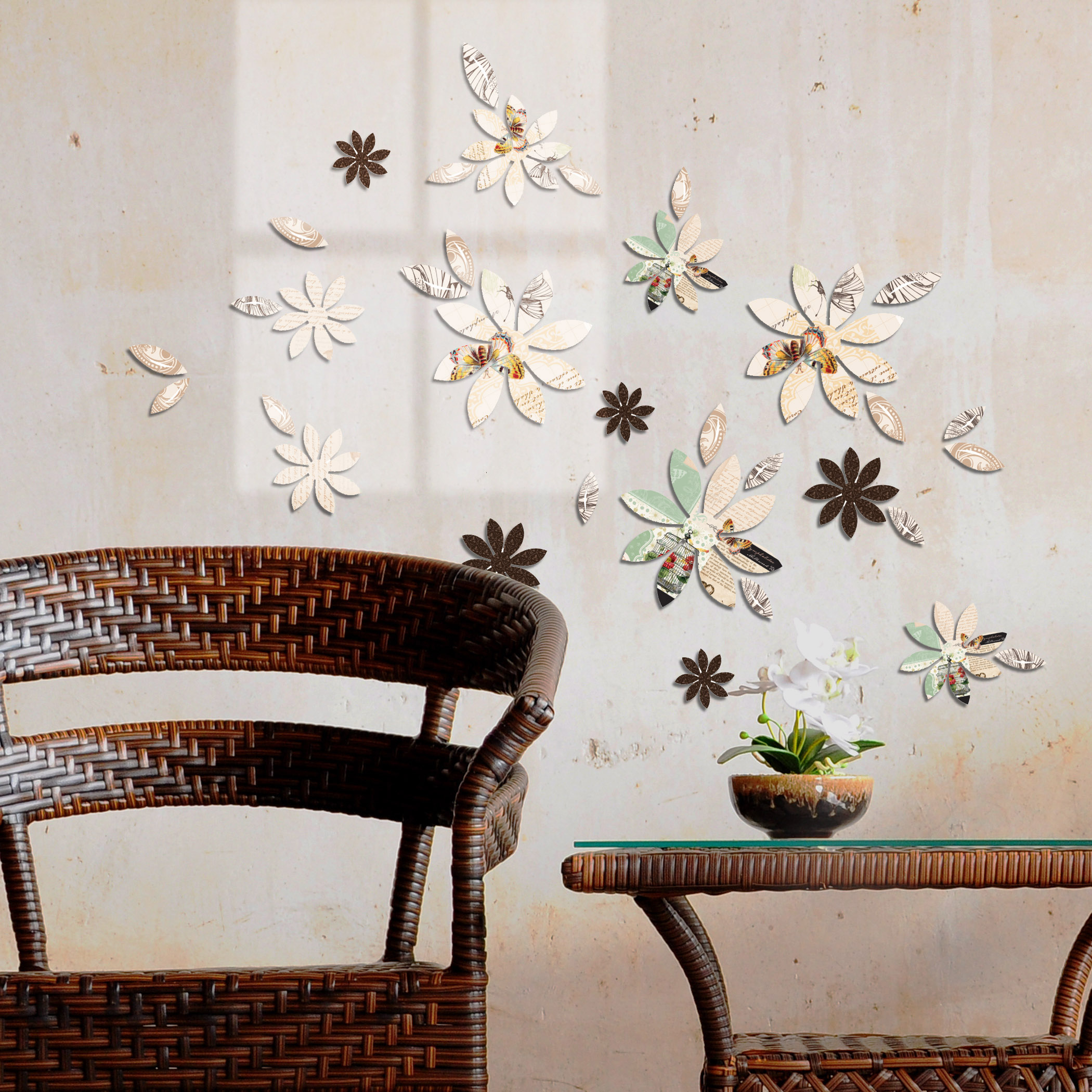 3D Wall Decor Brown Flowers With Mariposa Print, 9 Piece With Regard To Mariposa 9 Piece Wall Decor (View 5 of 30)
