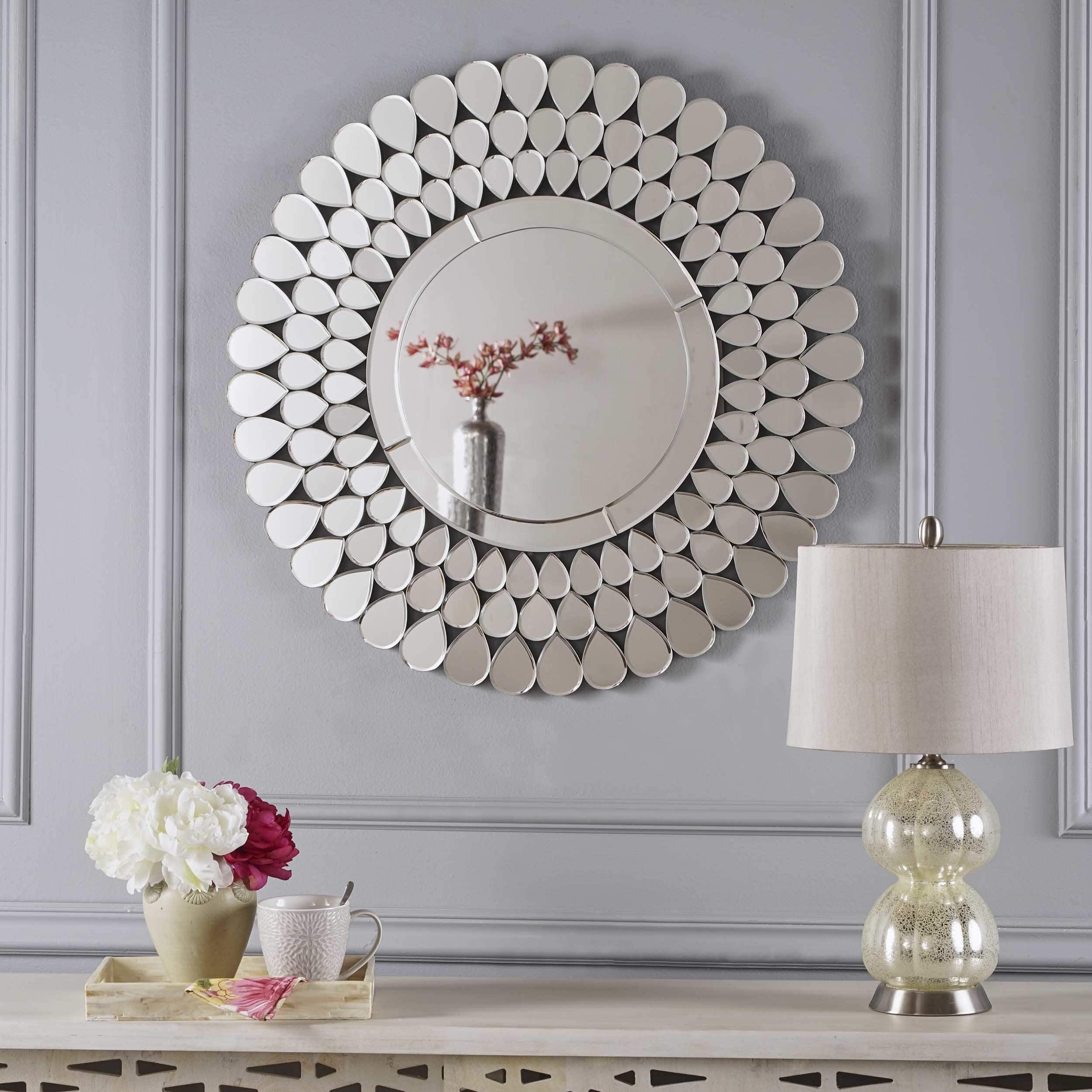 3Rd Fl Irmgard Round Flower Wall Mirrorchristopher Regarding Sajish Oval Crystal Wall Mirrors (View 7 of 30)