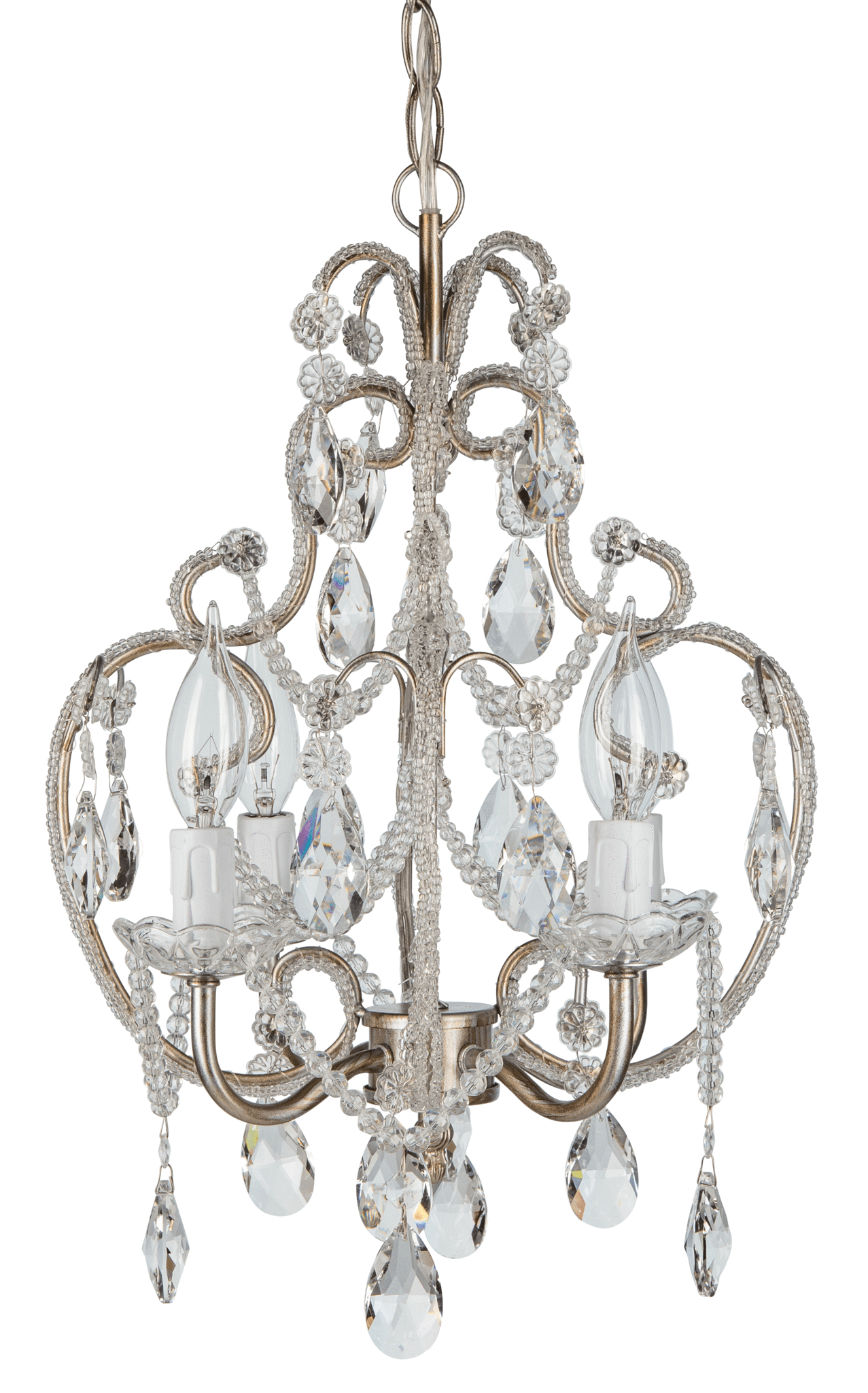 4 Light Beaded Crystal Plug In Chandelier (silver) | Amalfi Inside Aldora 4 Light Candle Style Chandeliers (View 12 of 30)