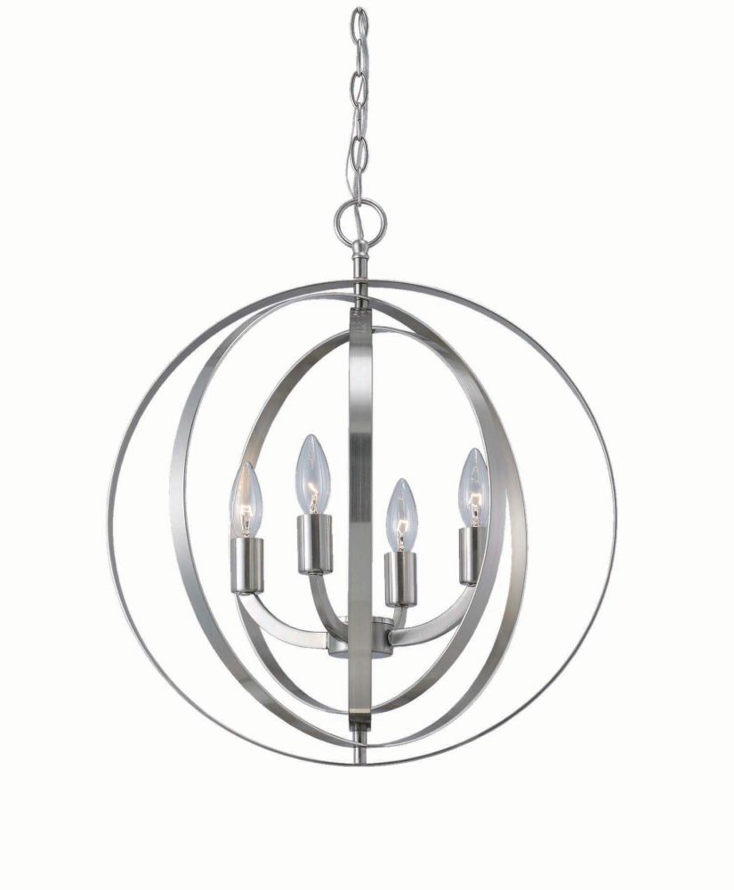 4 Light Brushed Nickel Sphere Chandelier | House within Morganti 4-Light Chandeliers (Image 1 of 30)