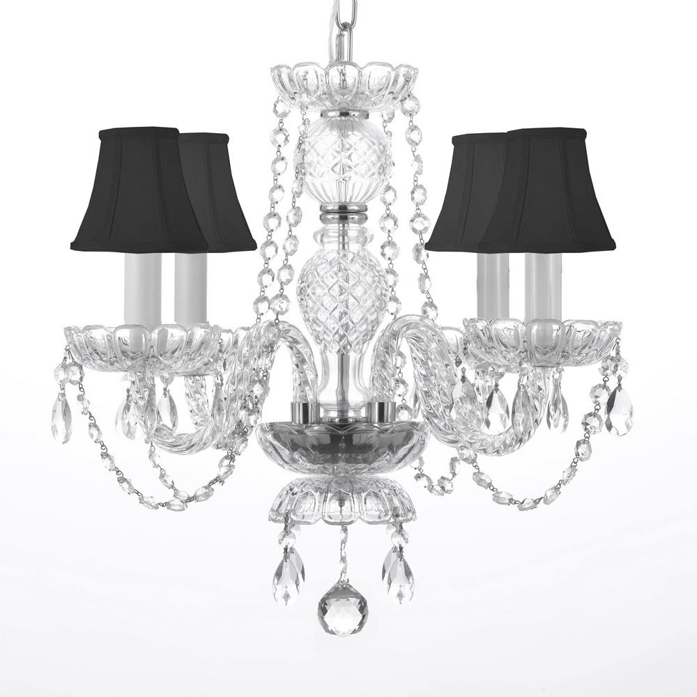 4 Light Venetian Style Empress Crystal Chandelier With Black Shades For Von 4 Light Crystal Chandeliers (View 16 of 30)