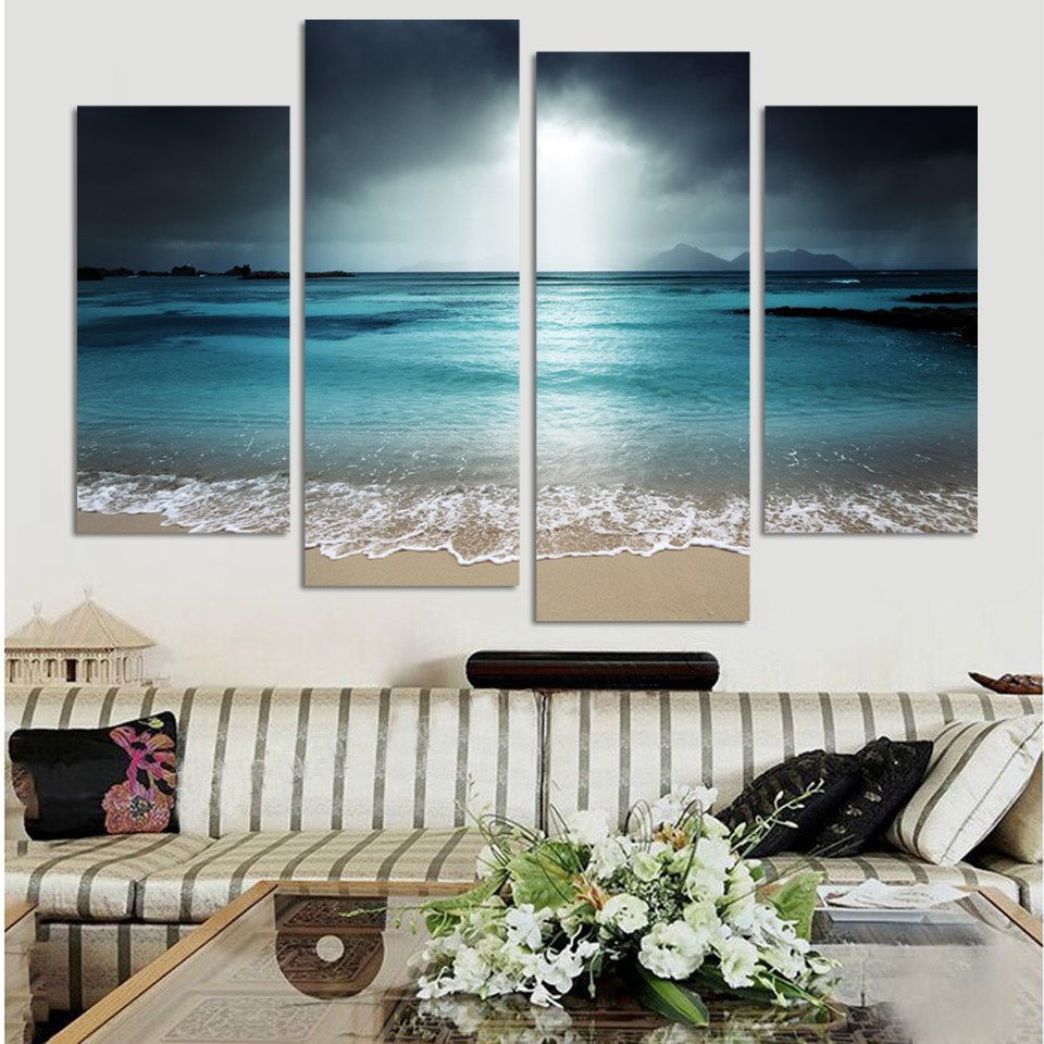 4 Pcs Beach At Twilight Multi Panel Canvas Wall Art Modern Home Decor  Living Room Or Bedroom for 4 Piece Metal Wall Decor Sets (Image 4 of 30)