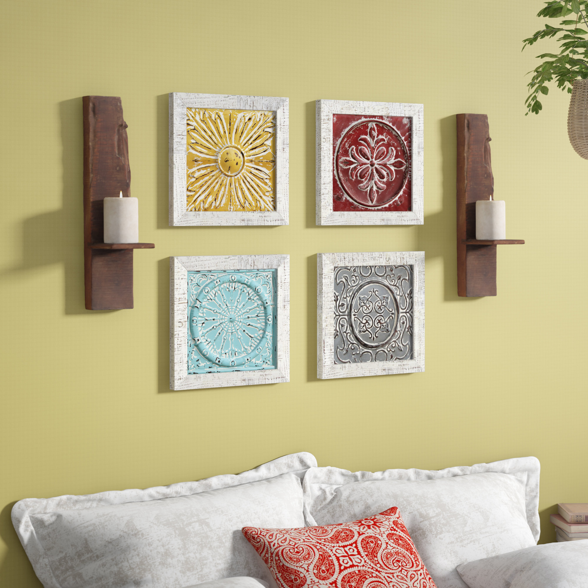 4 Piece Accent Tile Wall Décor Set With Regard To 4 Piece Wall Decor Sets (View 9 of 30)