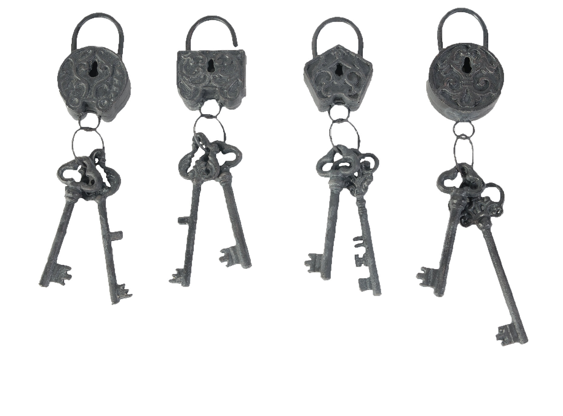 4 Piece Decorative Lock And Key Sets Wall Décor Inside Black Metal Key Wall Decor (View 17 of 30)