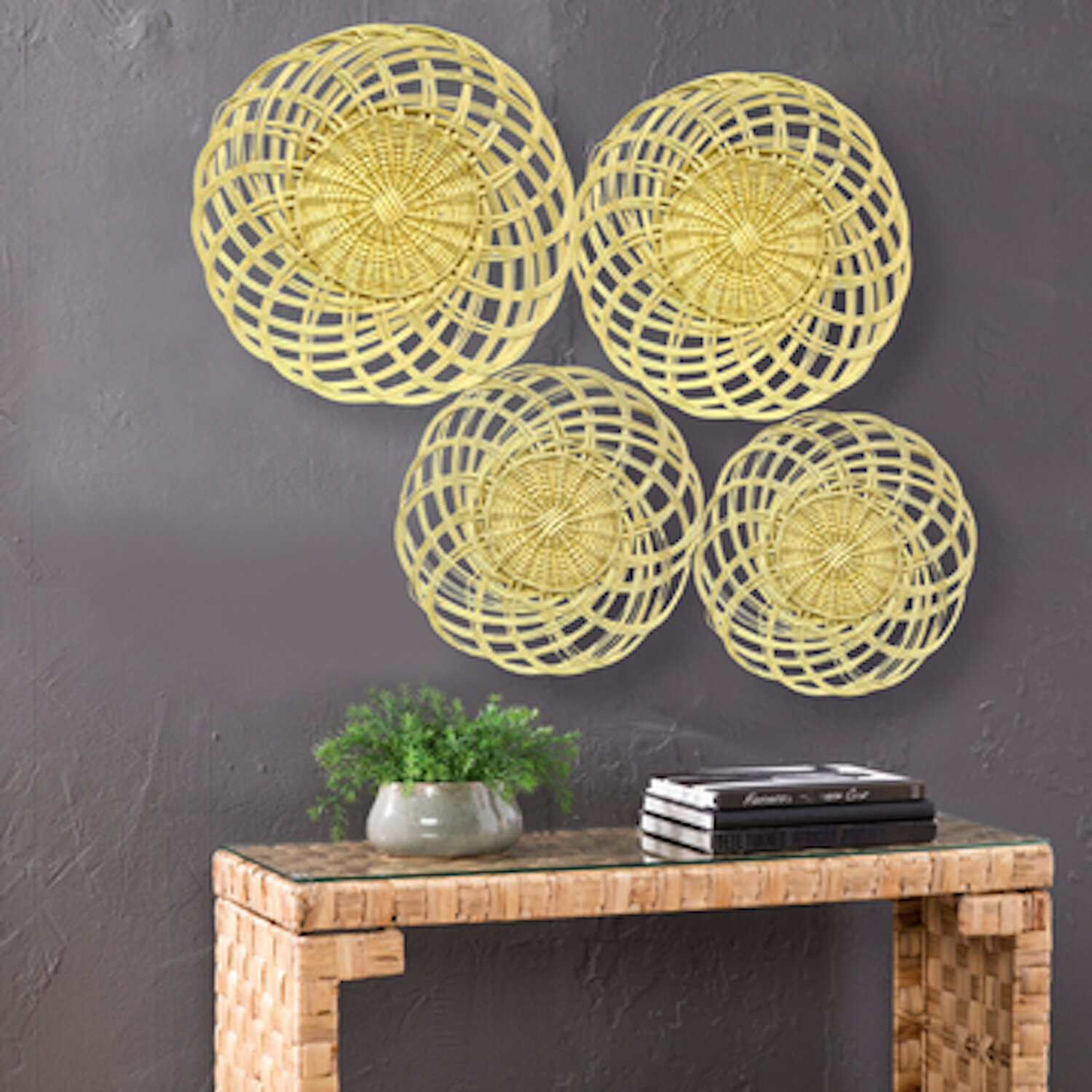Featured Photo of 4 Piece Handwoven Wheel Wall Decor Sets