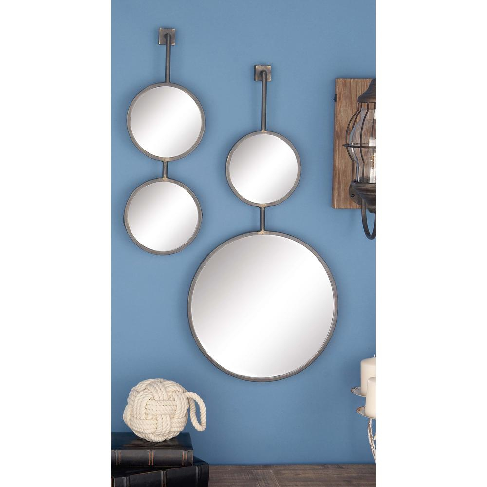 4 Piece Modern Suspended Metal Wall Mirror Set Pertaining To 4 Piece Wall Decor Sets (View 23 of 30)