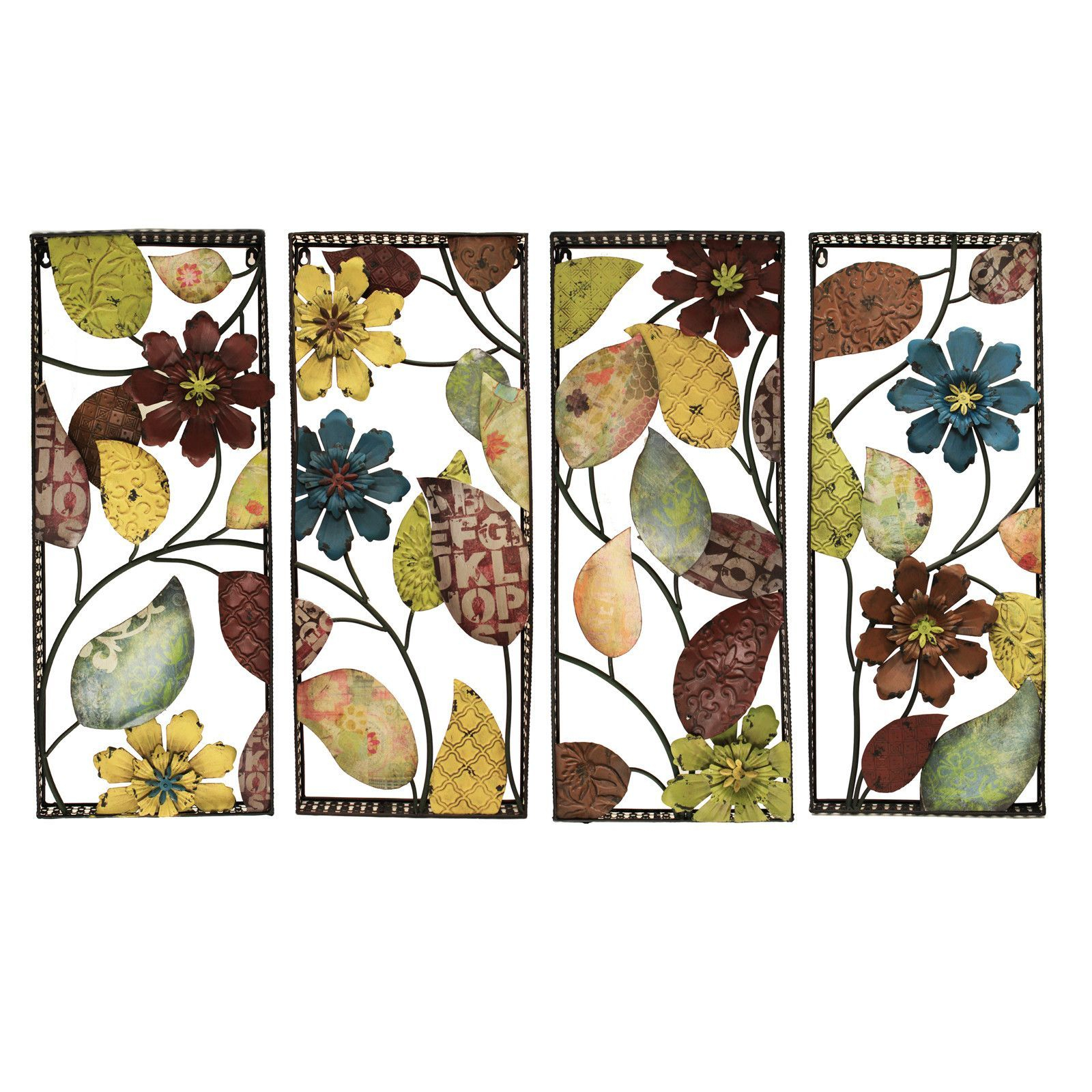 4 Piece Urban Designs Pop Art Flowers Wall Décor Set Intended For 4 Piece Wall Decor Sets (View 10 of 30)