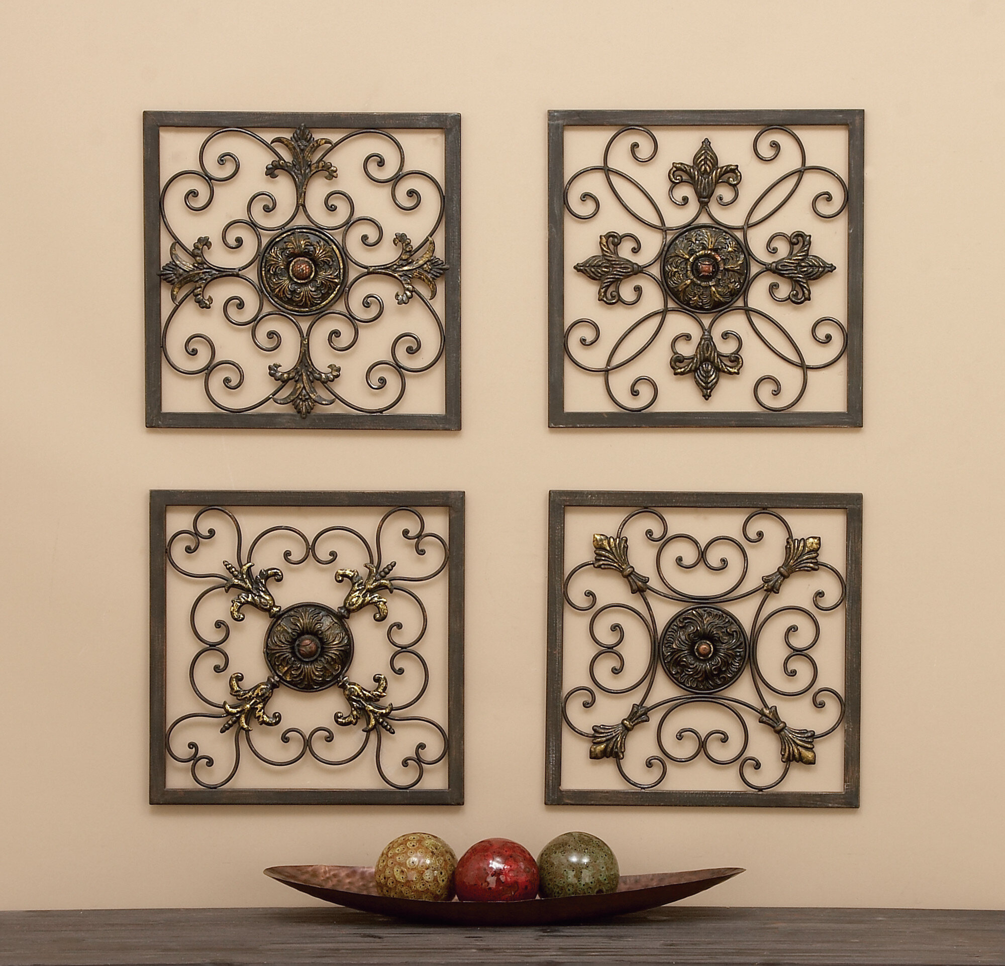4 Piece Wall Decor Set | Wayfair Within 4 Piece Metal Wall Plaque Decor Sets (View 2 of 30)