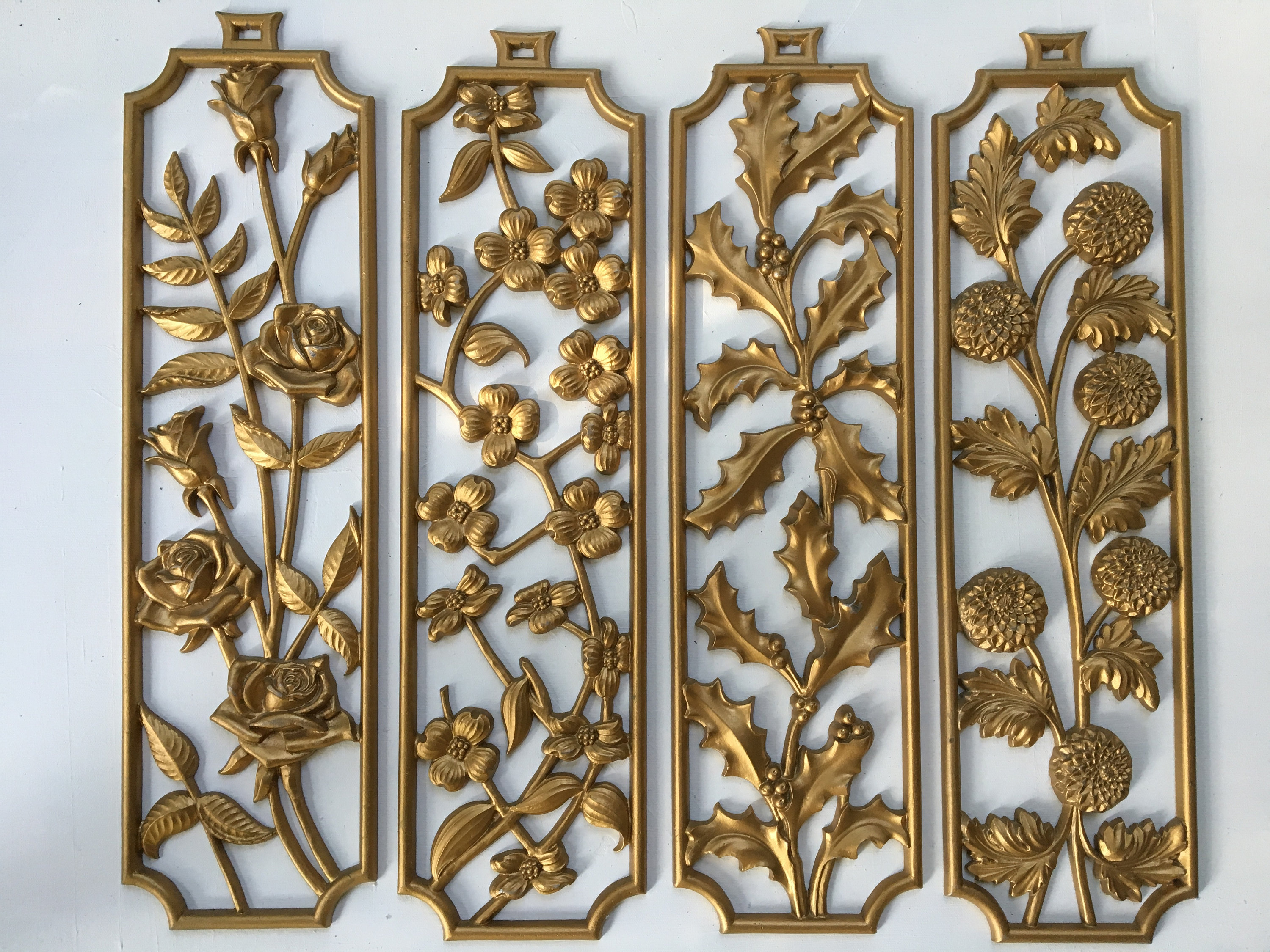 4 Sexton Gold Metal Flower Plaques, Mid Century Modern Wall Decor, Set Of 4 Gold Floral Wall Hangings, Hollywood Regency Intended For 4 Piece Metal Wall Plaque Decor Sets (View 13 of 30)